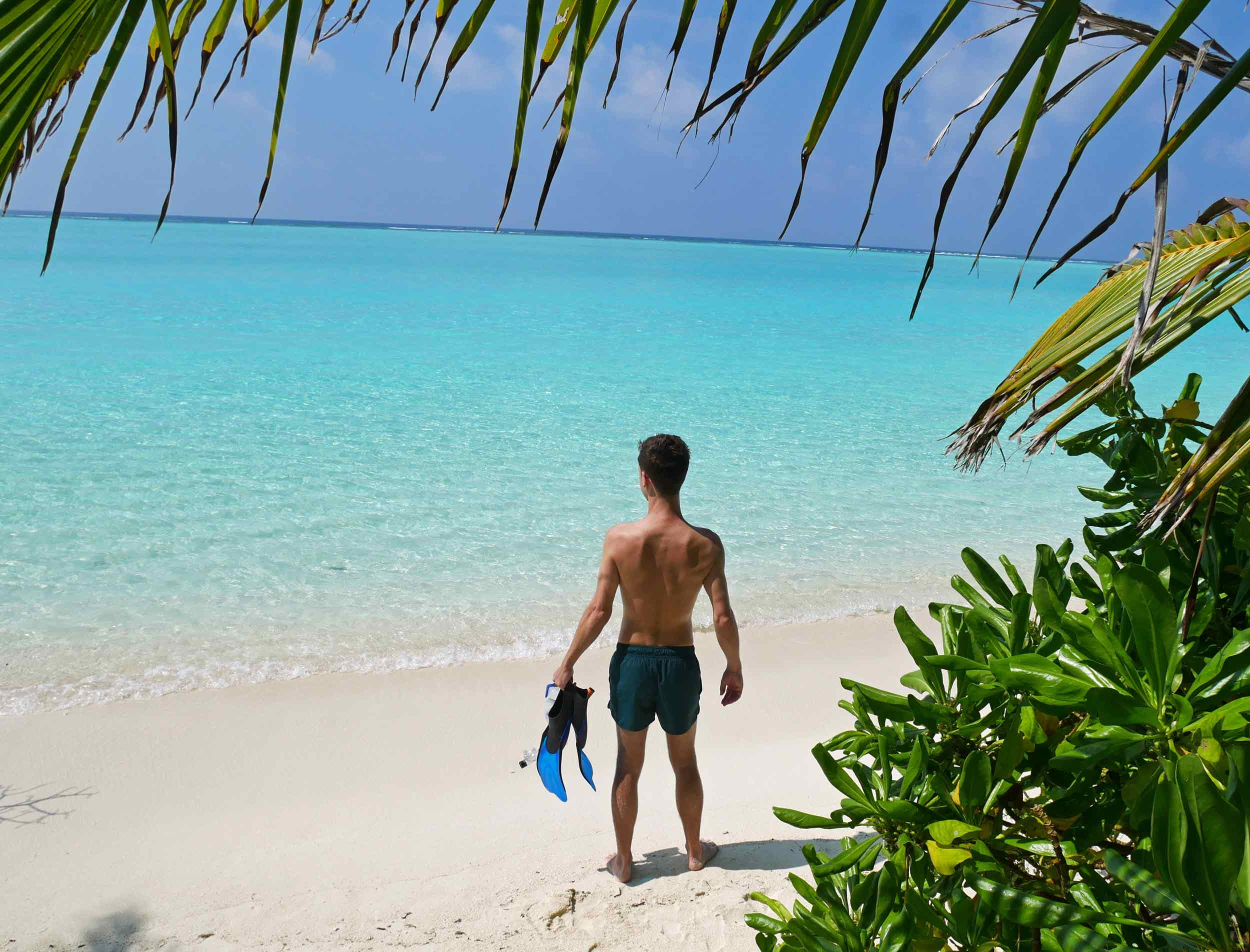 Martin getting ready to dive in for a snorkel – the reefs off the 'bikini beach' of Thoddoo are teaming with sea life!