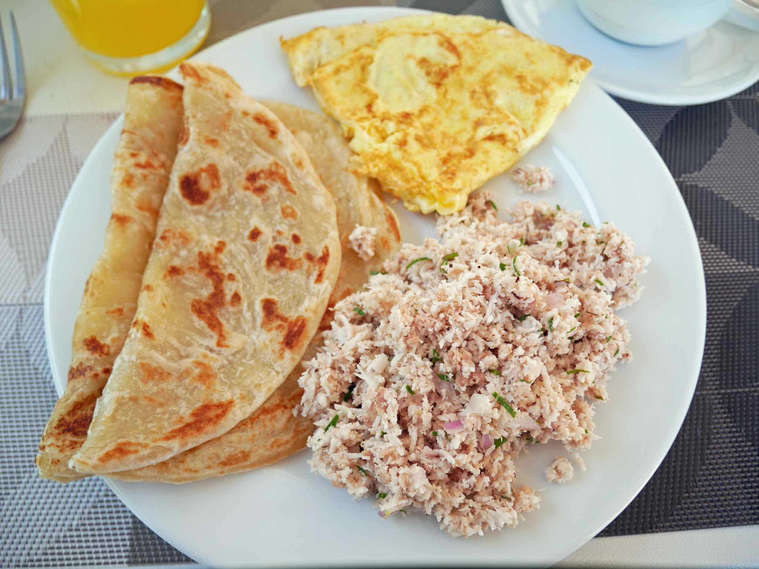 Maldivian breakfast is a hearty and exceptionally delicious start to our beach days (Dec 9).