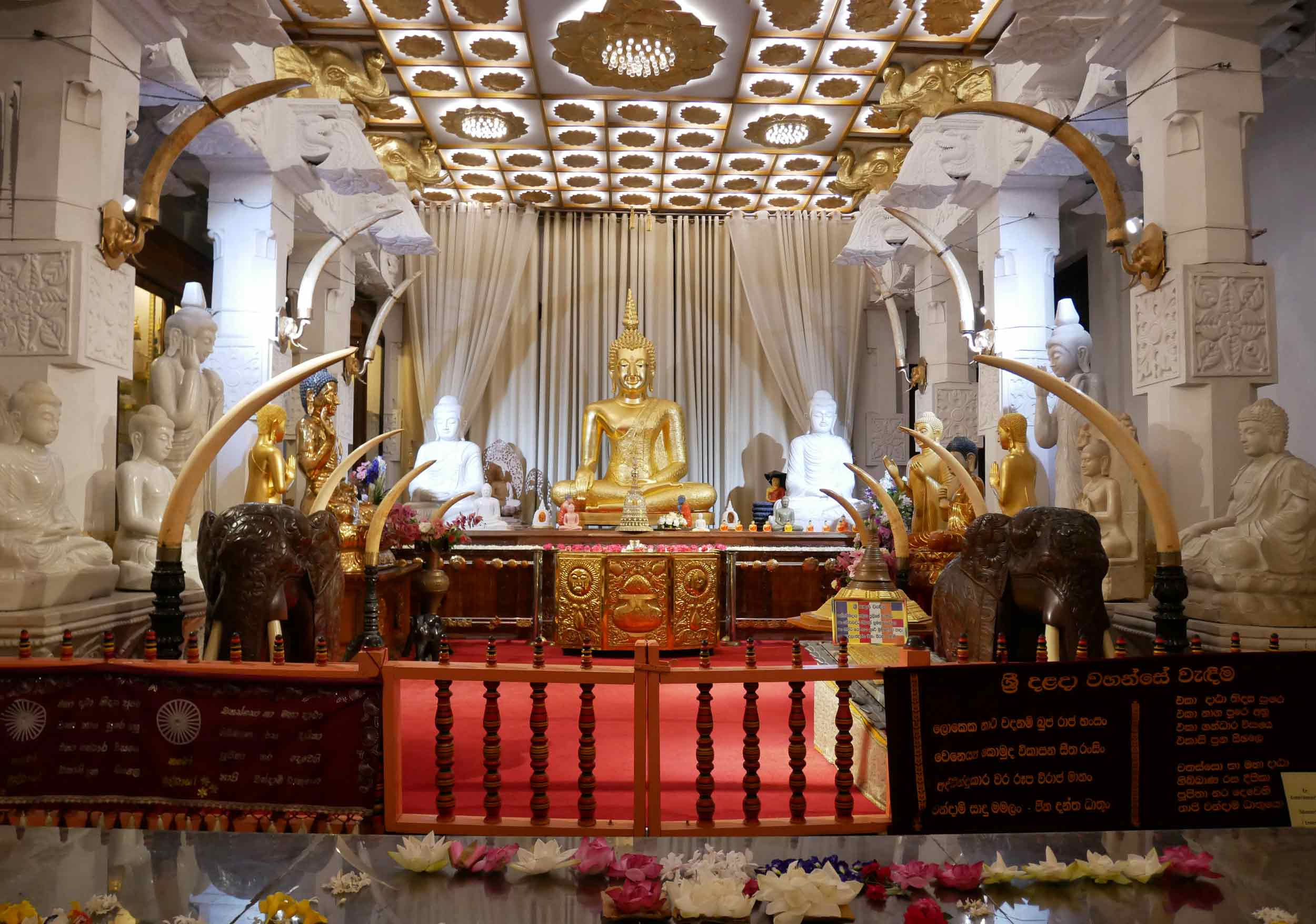 Statue of Lord Buddha in Kandy's Temple of the Sacred Tooth Relic (Dec 13).