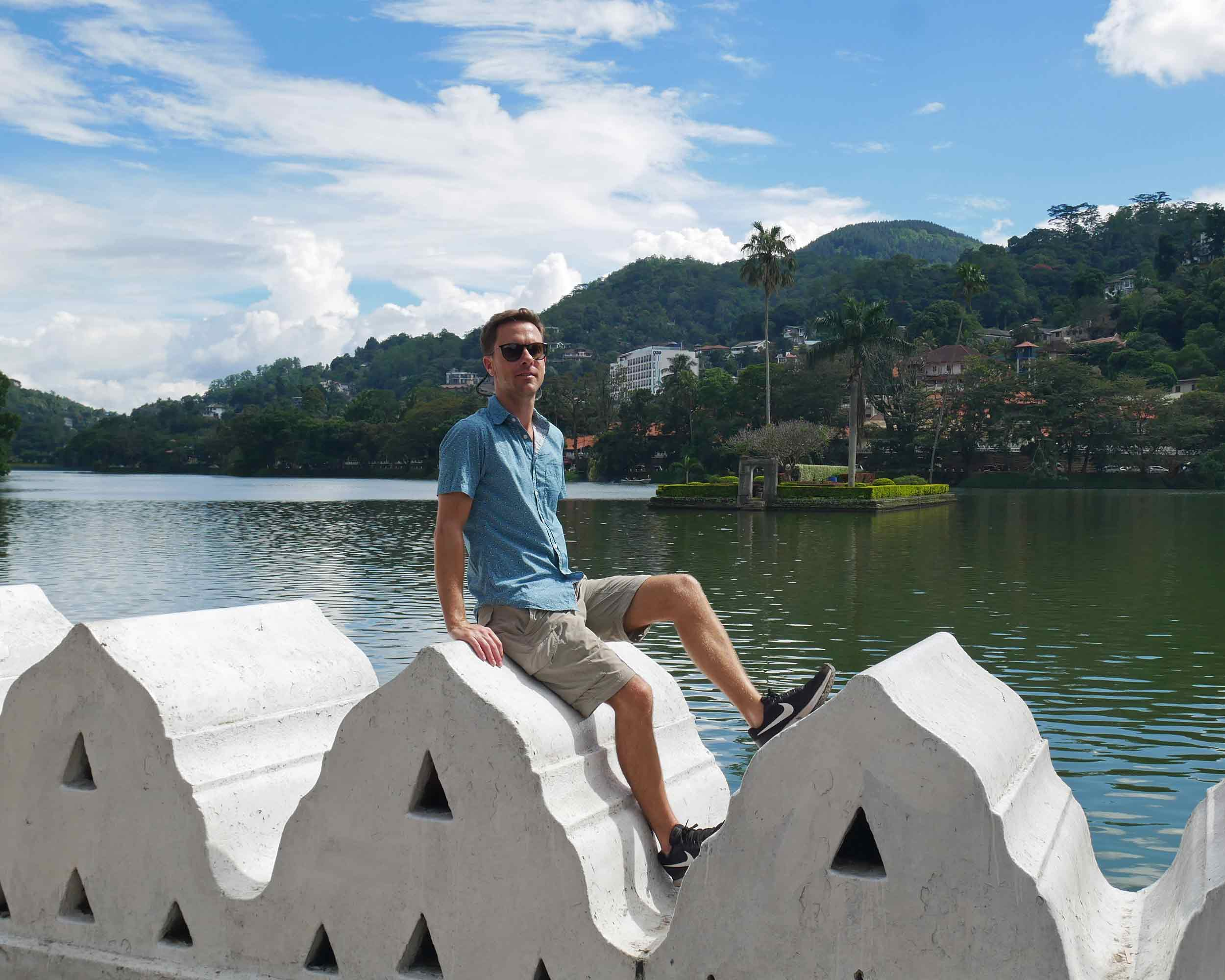 Taking in the sunshine at the picturesque Bogambara Lake, which sits at the edge of Kandy next to the Temple of the Sacred Tooth Relic.