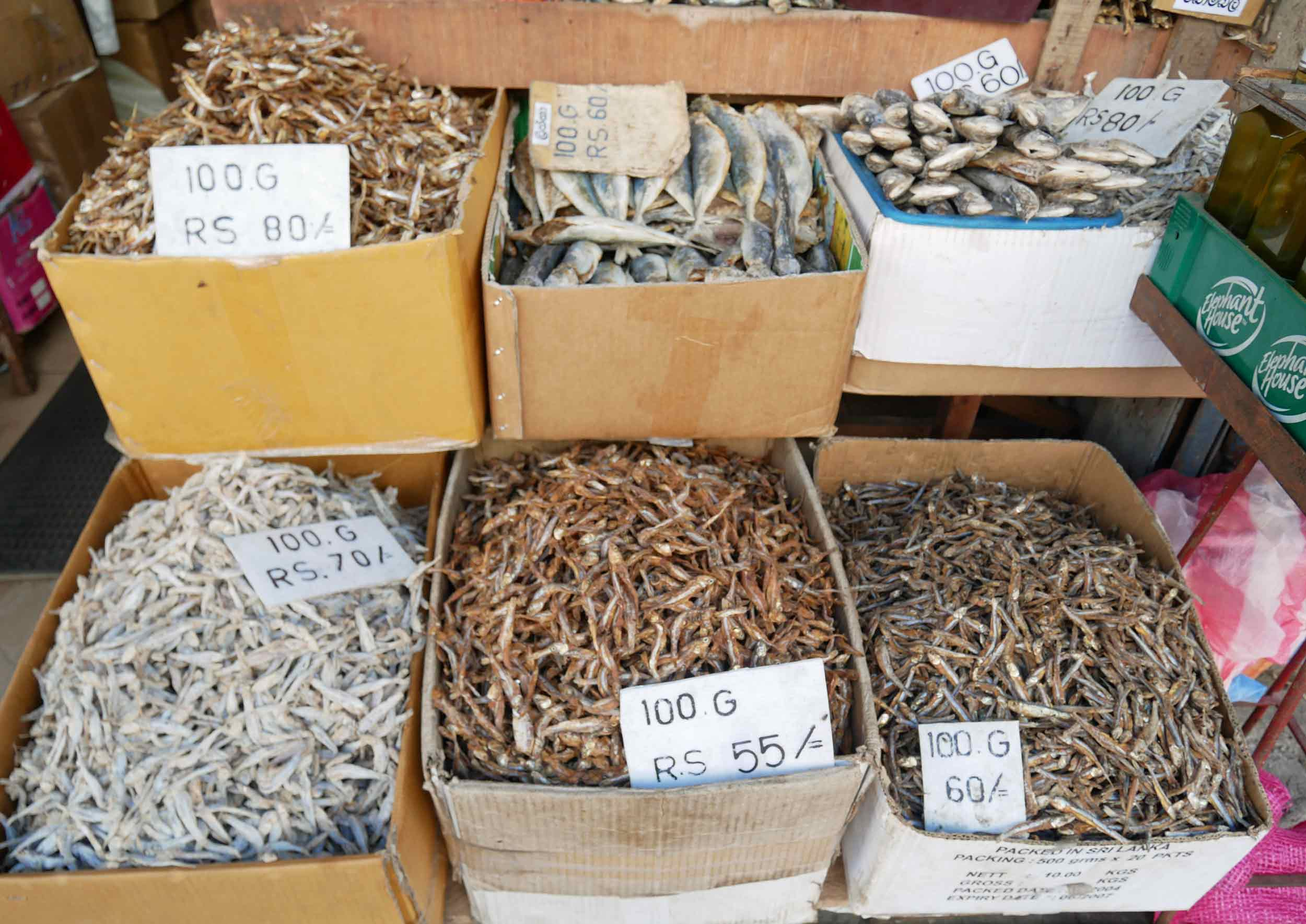 Ever curious of what's for sale at the local markets, vendors here are offering sun-dried fish to flavor local curries.