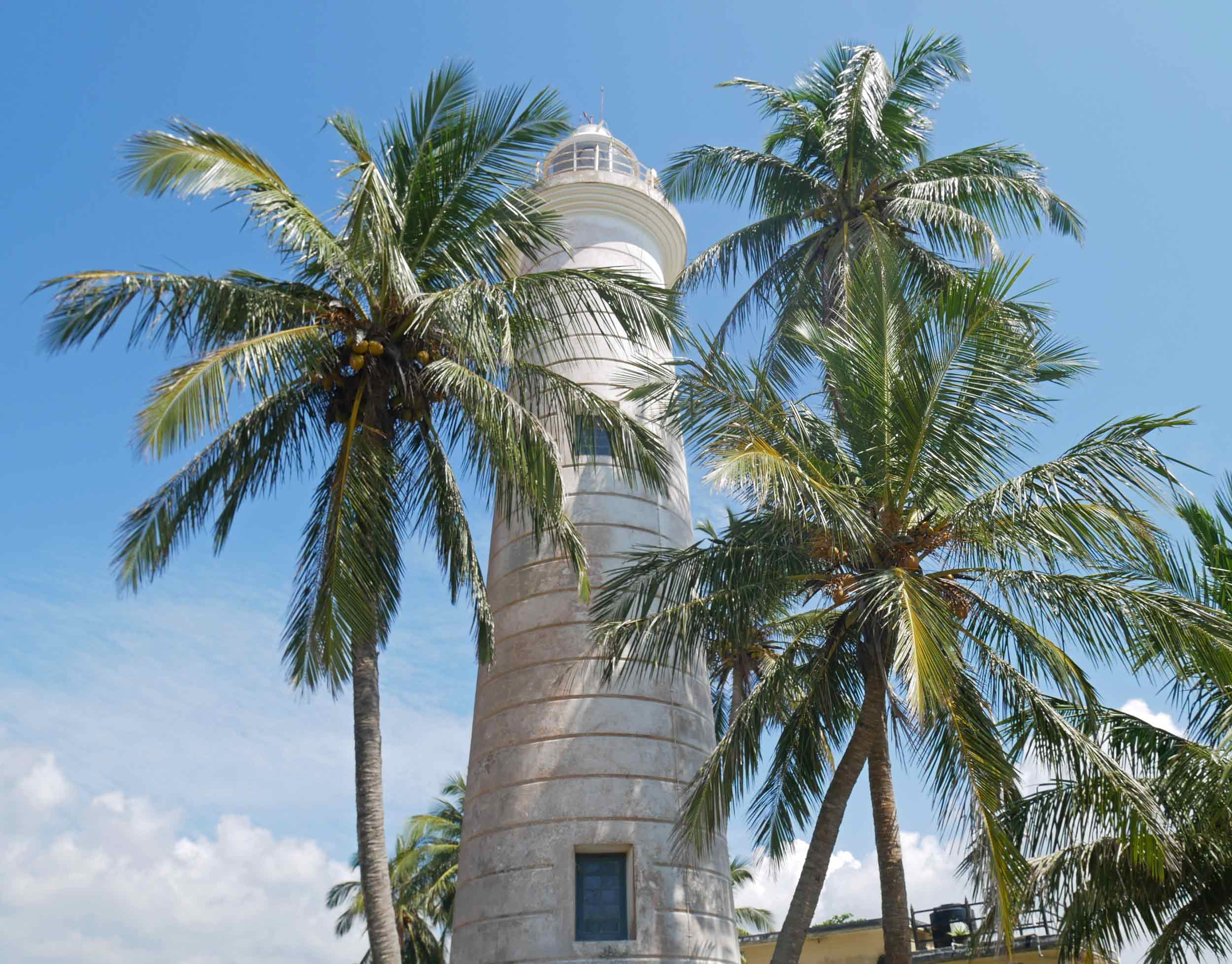 The charming lighthouse of Galle, flanked by swaying palms in the tropical heat (Dec 22).