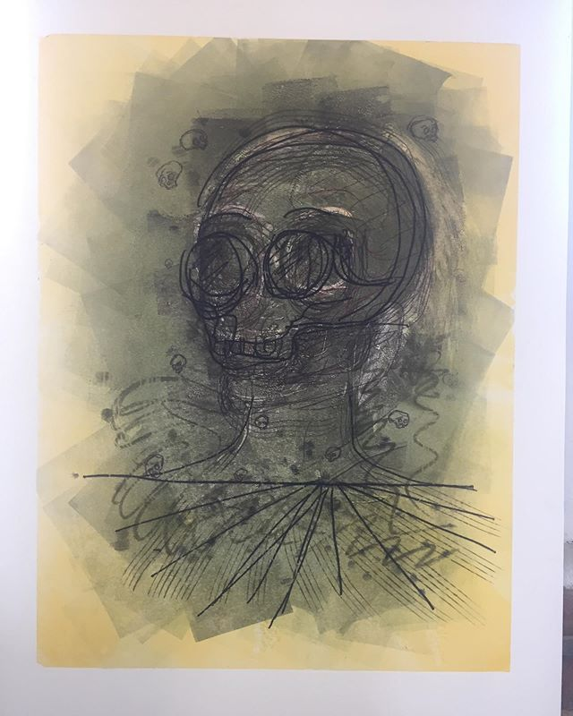 Monotype transformation, swipe to see the build up of layers! . . . . . #monotype #monoprint #drawing #sketch #printmaking #printmaker #skull #color #akua #akuainks