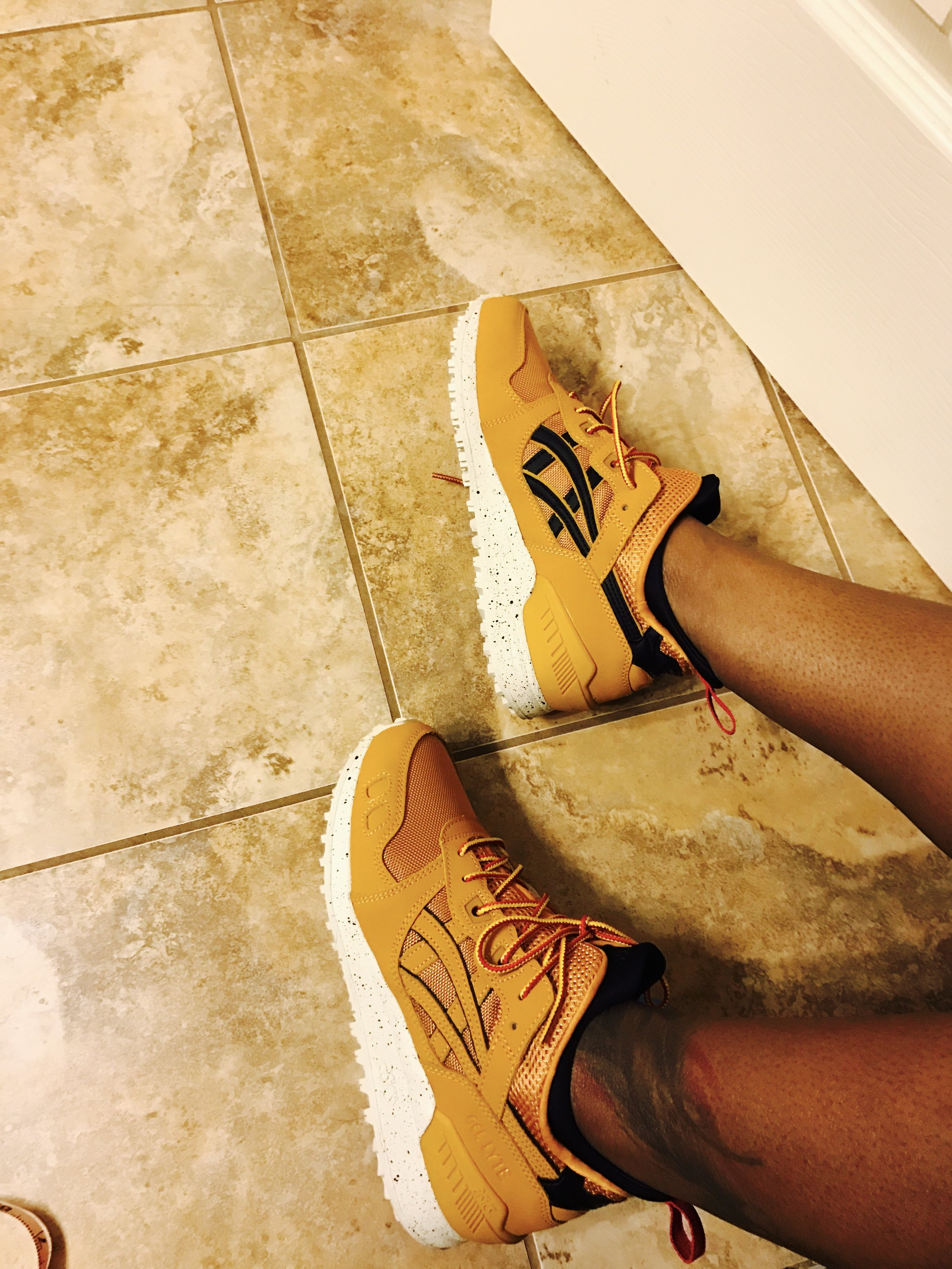 """I've been sleeping on ASICS. And I didn't know that ASICS is an acronym derived from the Latin phrase, """"Anima Sana In Corpore Sano"""" - a sound mind in a sound body. At least, that's what the tag said. Pretty fitting for my goals at this moment. Maybe if I wear these, my body will be healed."""