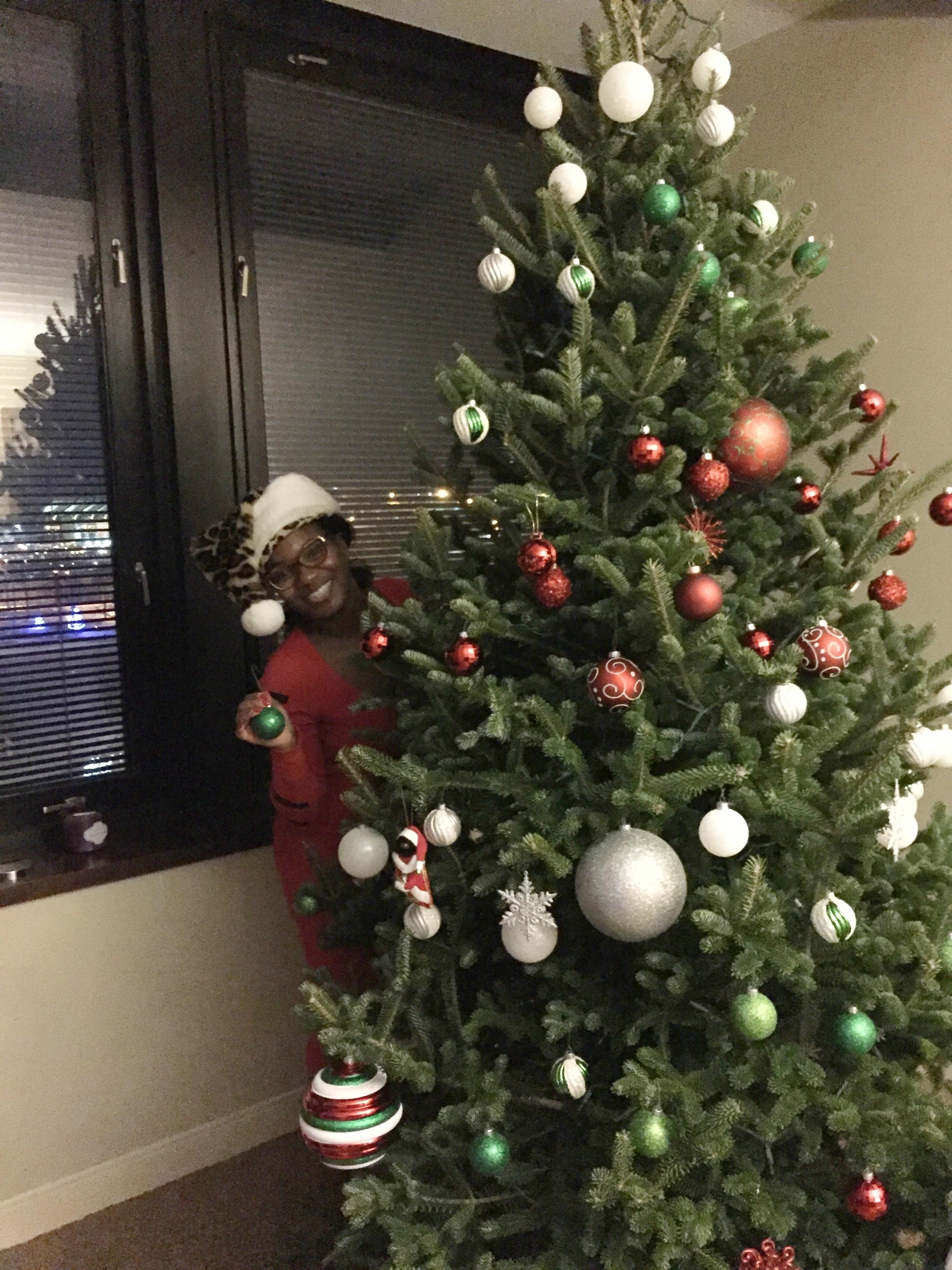 Black Destination Wedding Bride Christmas Tree Decorating -