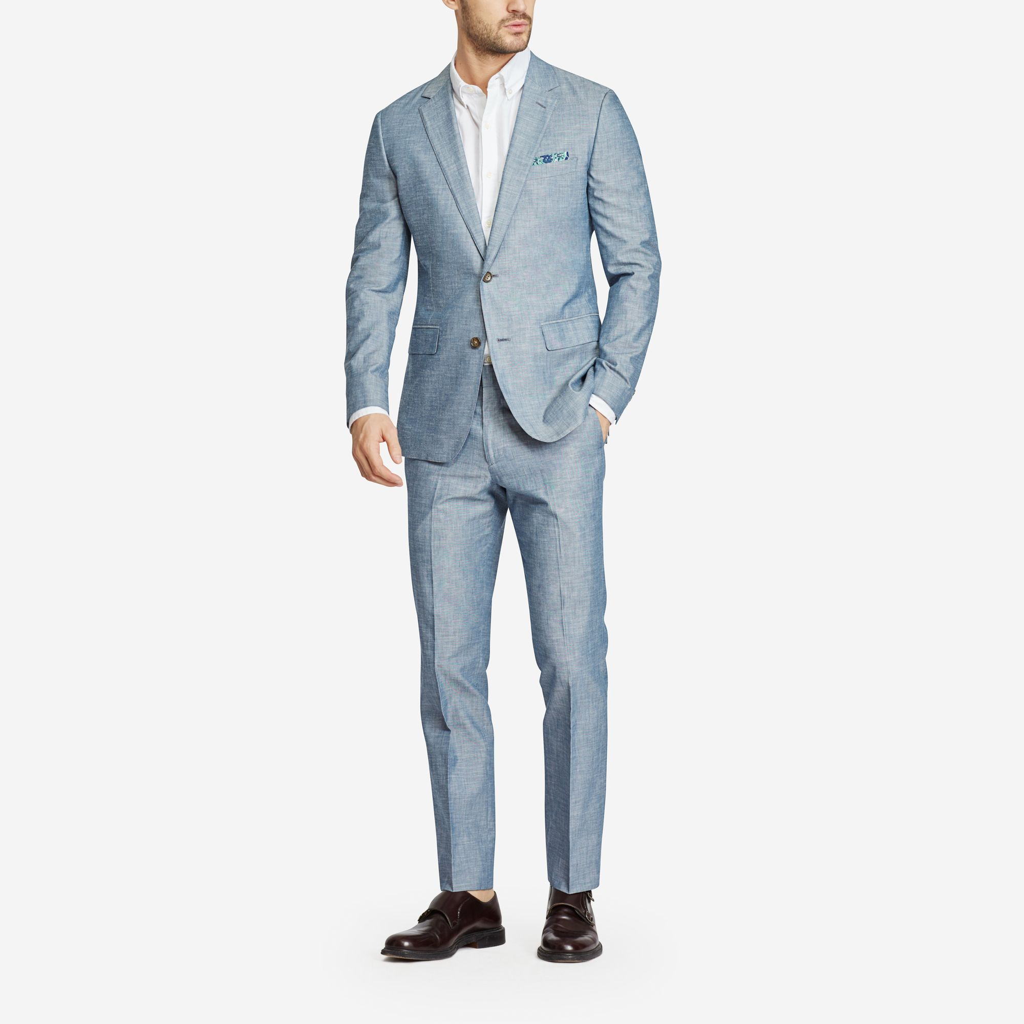 Bonobos Foundation Chambray Suit  Classic construction, the perfect fit, and beautiful details—if you only get one suit, make it the Foundation. Your go-to suit in breathable cotton for warmer weather. - © Bonobos