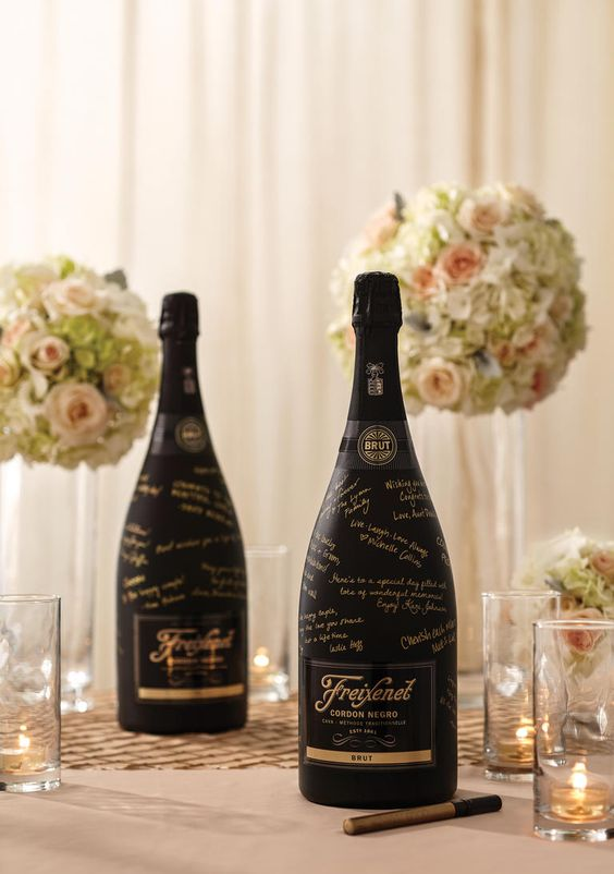 "We're trying to figure out which size bottle to use...do we want 1 big bottle or 2 normal sized bottles? 🤔  This photo is on my Pinterest Page, courtesy of The Knot & Freixenet Champagne. Click here for full article:  ""Crazy for Cava: 5 Ideas to Add More Bubbly to Your Wedding"""