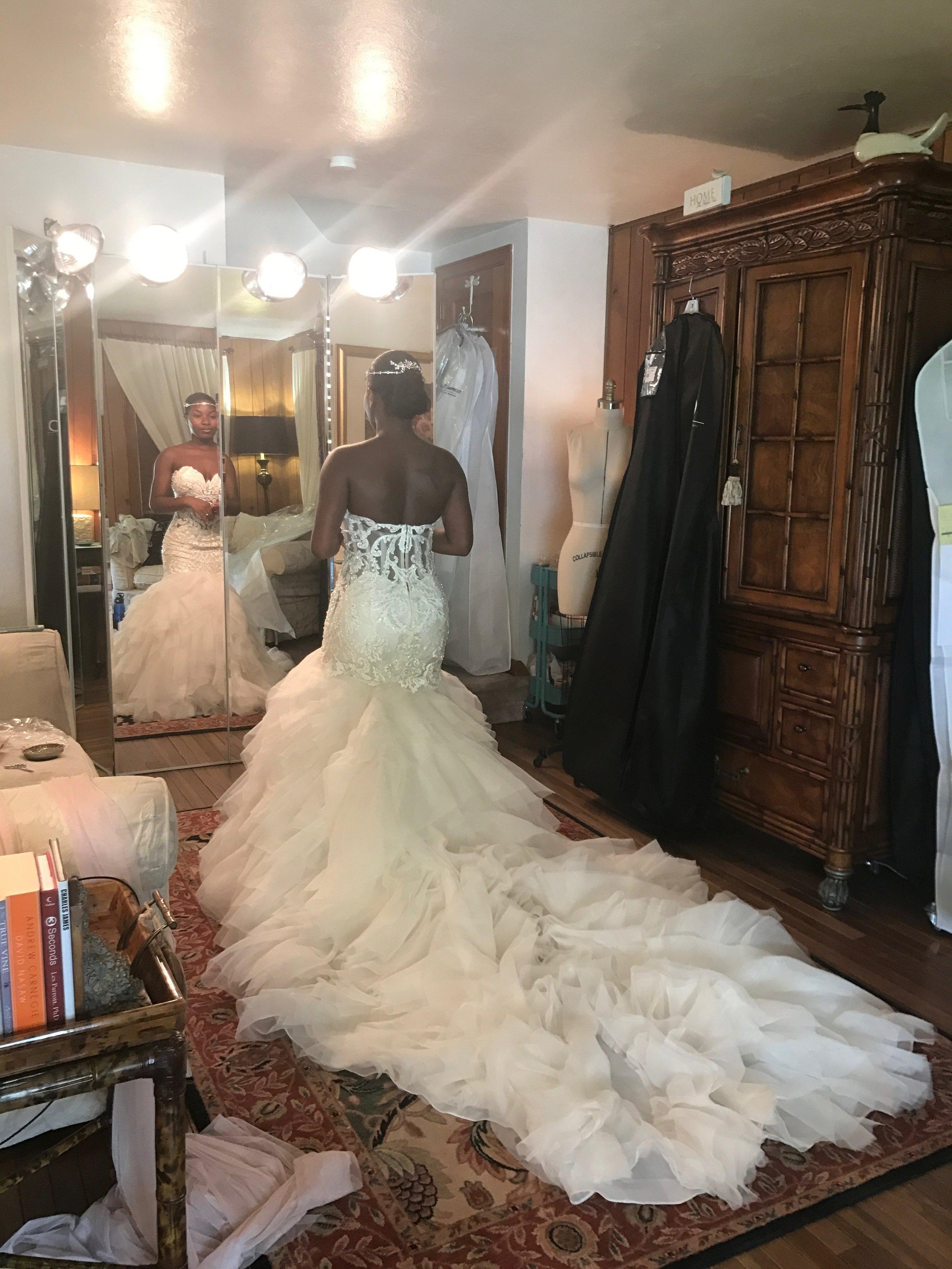 Black Destination Bride - BlackDesti Wedding Journal - Bridefriends Podcast -10 - dress fitting3 - 2 veils.JPG