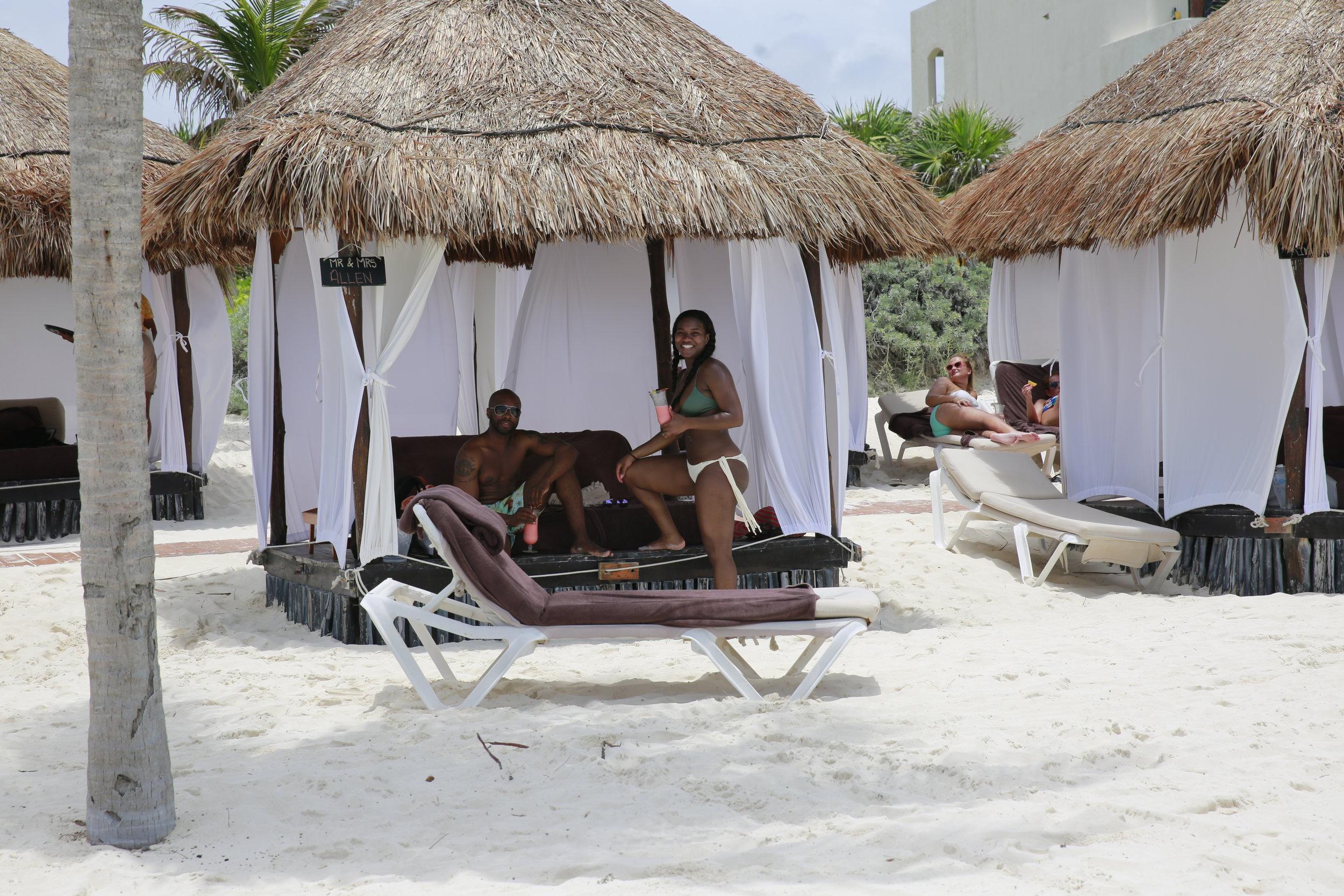 Black Destination Bride - BlackDesti Wedding Countdown Journal - Bridefriends Podcast - 1 Playa del Carmen Mexico - Secrets Maroma beach cabana.JPG