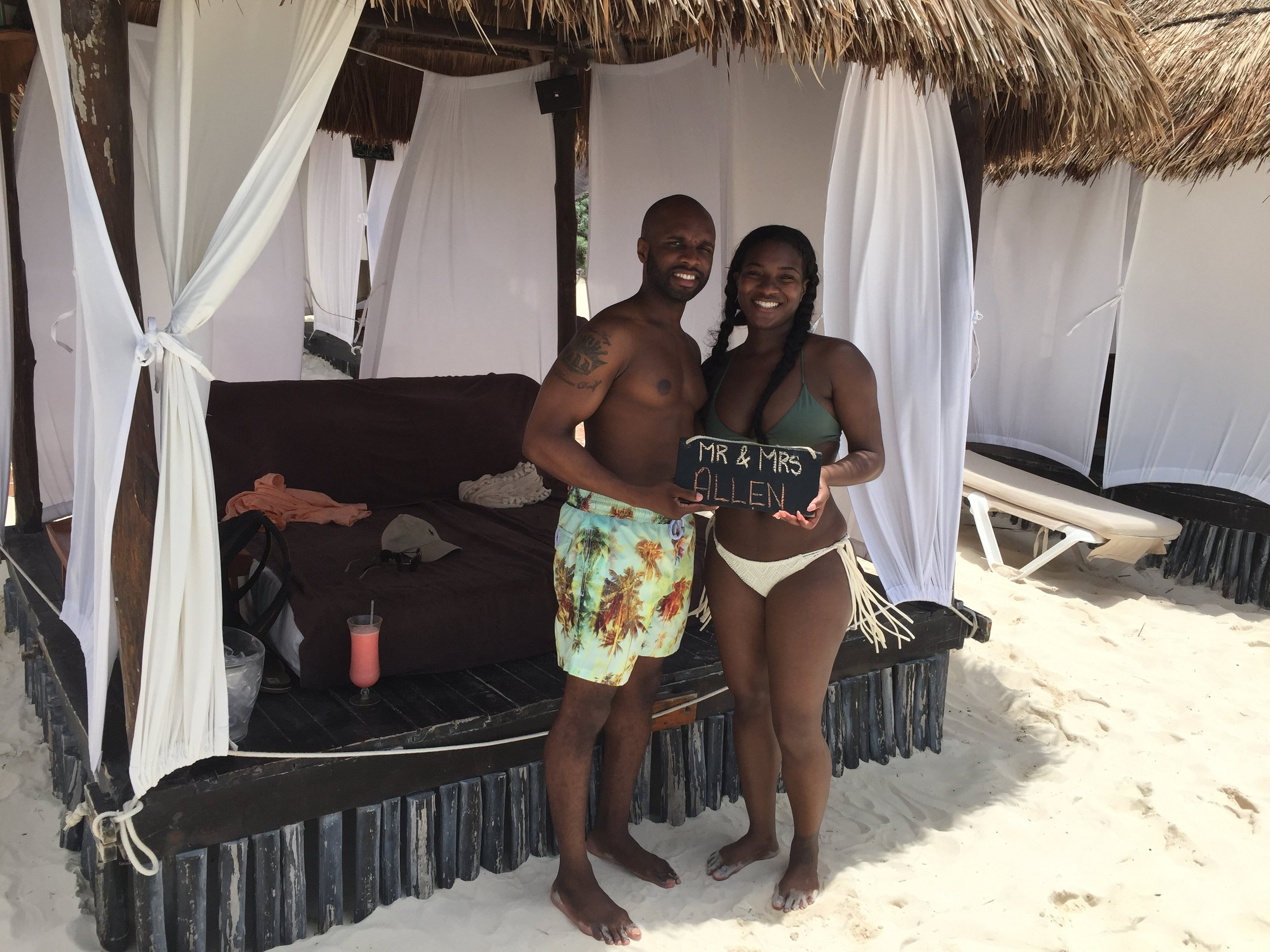 Black Destination Bride - BlackDesti Wedding Countdown Journal - Bridefriends Podcast - 1 Playa del Carmen Mexico - Secrets Maroma beach cabana Chomi2.JPG