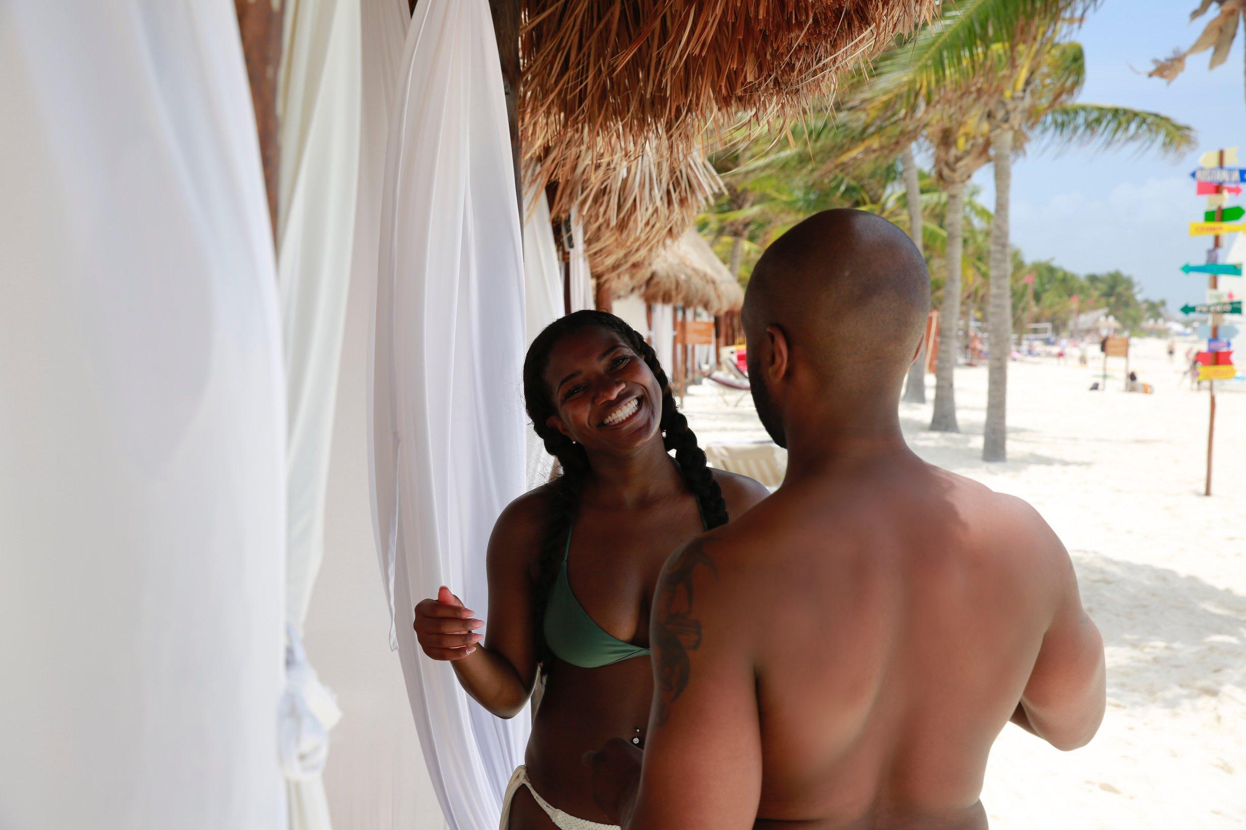 Black Destination Bride - BlackDesti Wedding Countdown Journal - Bridefriends Podcast - 1 Playa del Carmen Mexico - Secrets Maroma beach cabana talking.JPG