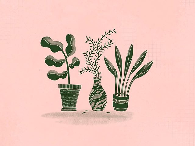 I've been into green and pink lately as a fun combo for everything AND I discovered a grid brush in the elements section of #procreate.  This little doodle reminds me of an abstract piece I made for a found art project way back in university. 🌱🌿🌾 . . . #illustratorsoninstagram #floral #doodle #illustration #plantlove