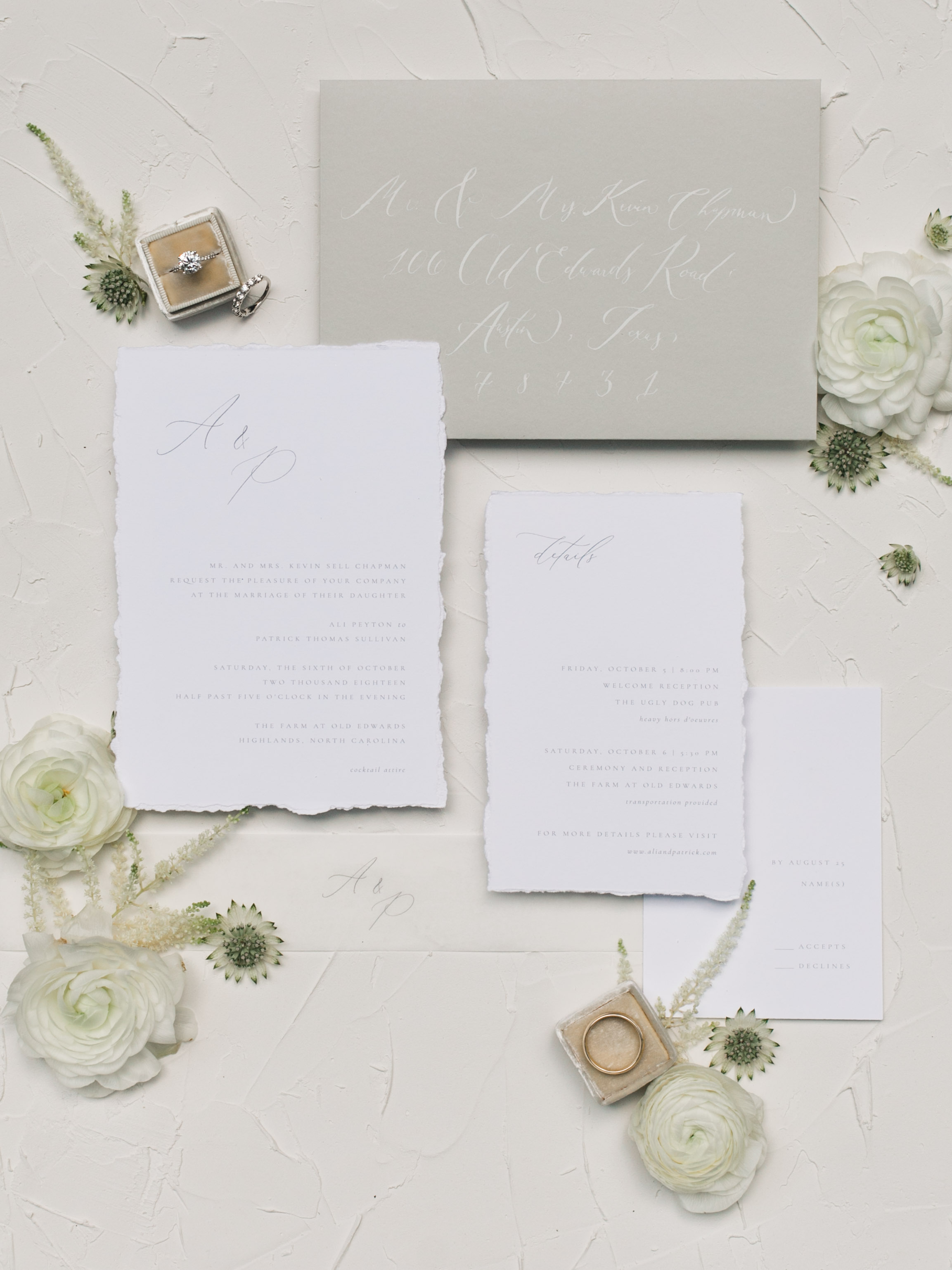 image: DASH Photography  invitations: August & White