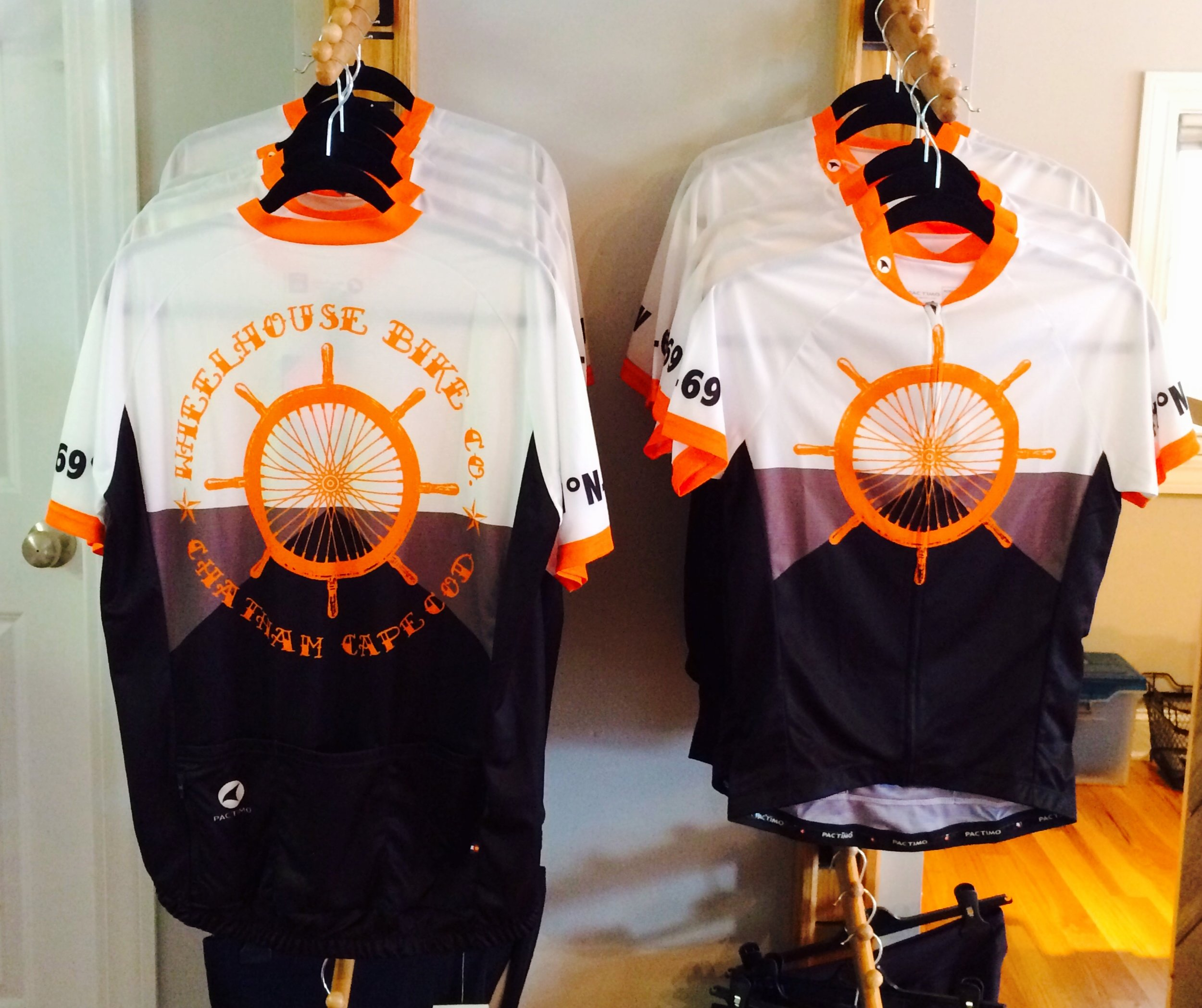"""It's all about the kit"", and Wheelhouse Bike Co.'s custom Pactimo Riding Jersey features the nautical coordinates for Chatham, MA on the sleeves and 3 pockets in Back."