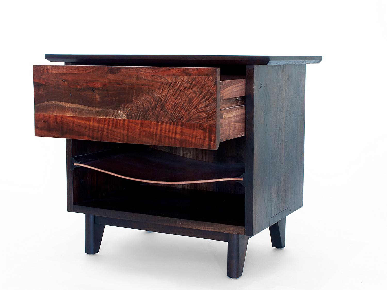 "26""L x 18""D x 24""H   Ebonized Black Walnut cabinet & base,  Claro Walnut drawer front, Oxblood saddle leather shelf"