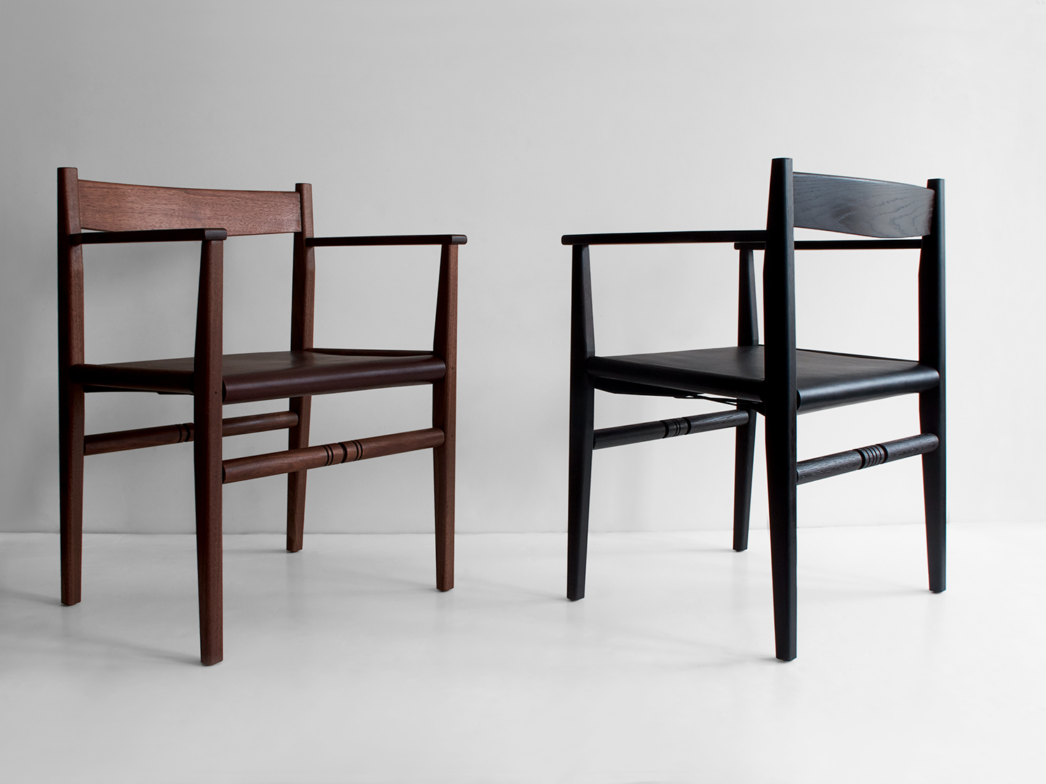 L to R: Black walnut, oxblood saddle leather Ebonized ash, black saddle leather
