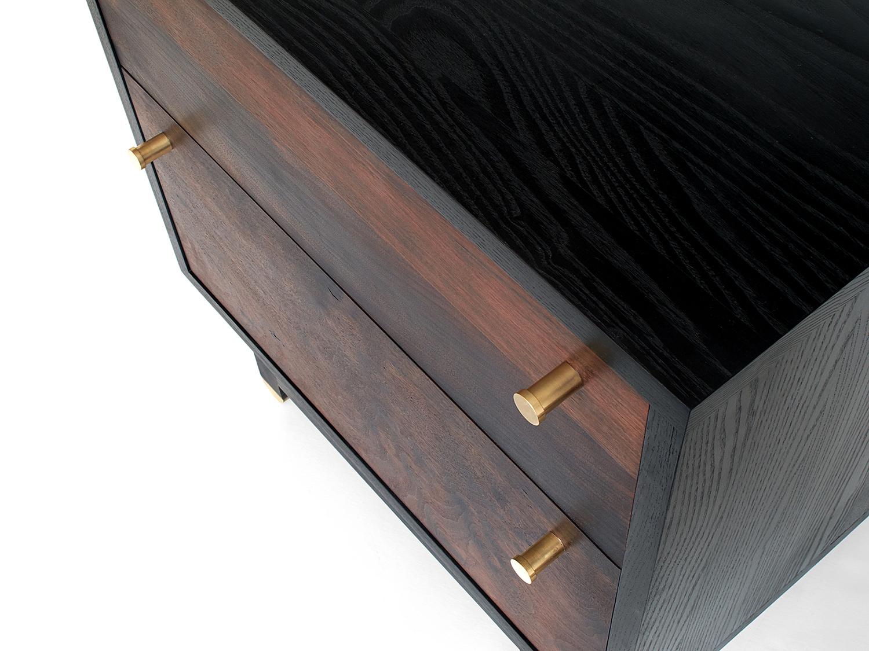 Ebonized Ash cabinet & base, Oxidized Walnut fronts Natural brass hardware