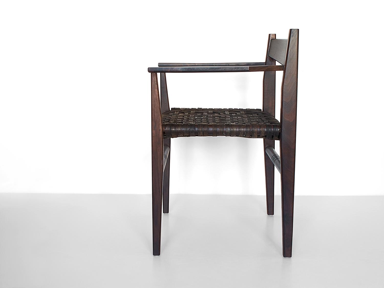 Oxidized black walnut, woven oxidized hickory bark seat