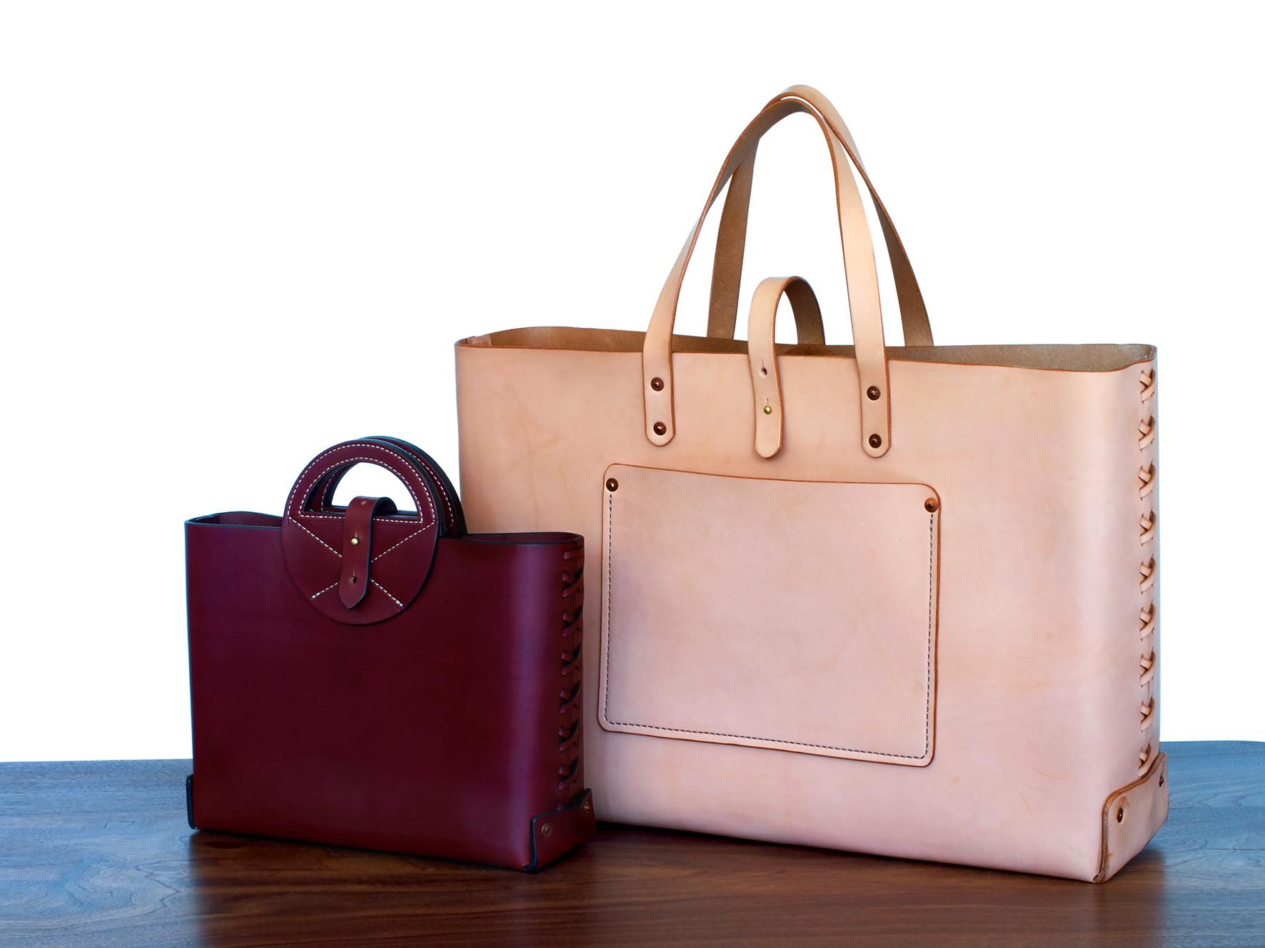 Burgundy Handbag & Natural Leather Supply Tote