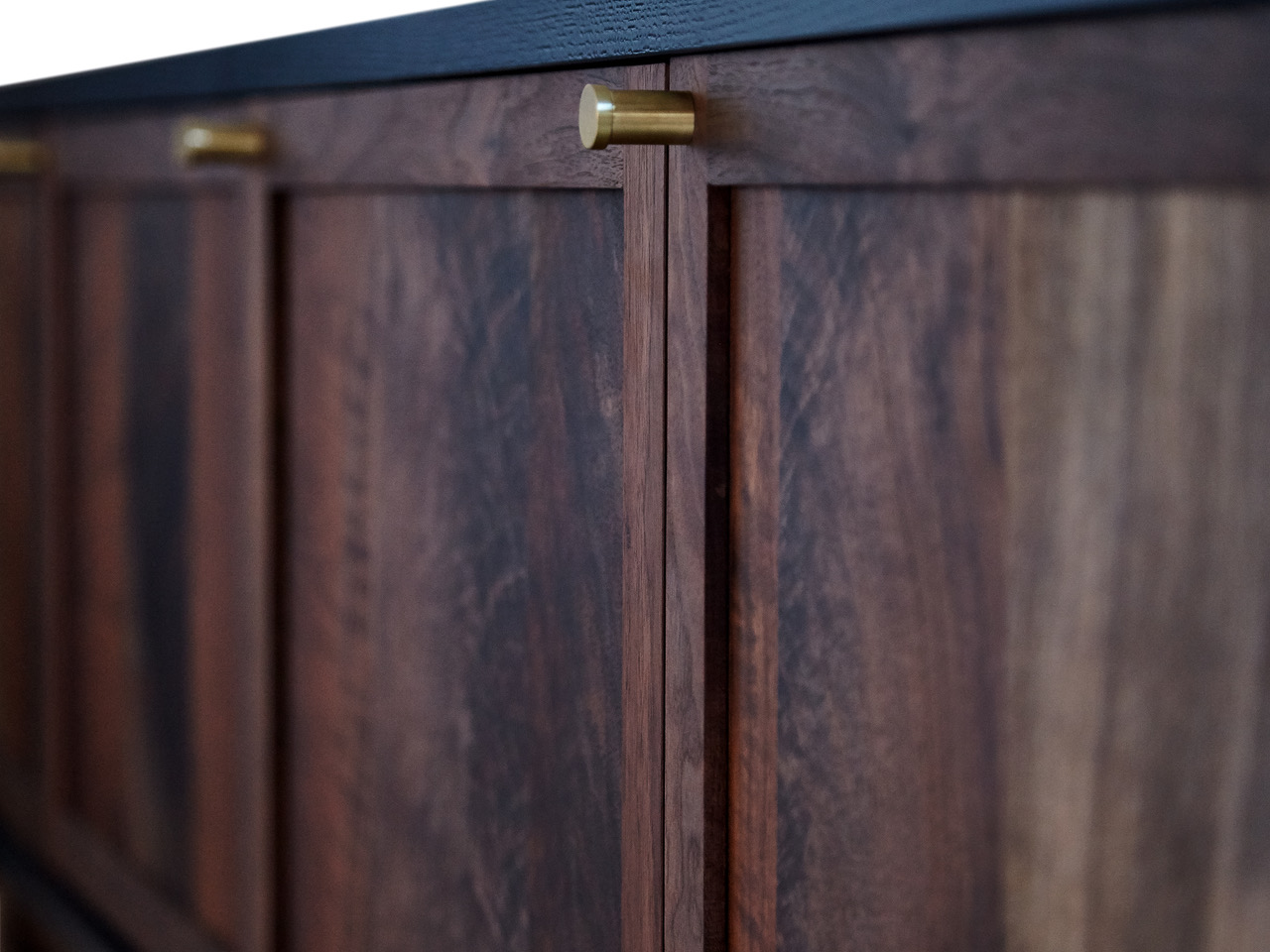 """92""""L x 20""""D x 24""""H Claro Walnut fronts, cast iron blue painted case, turned brass pulls"""