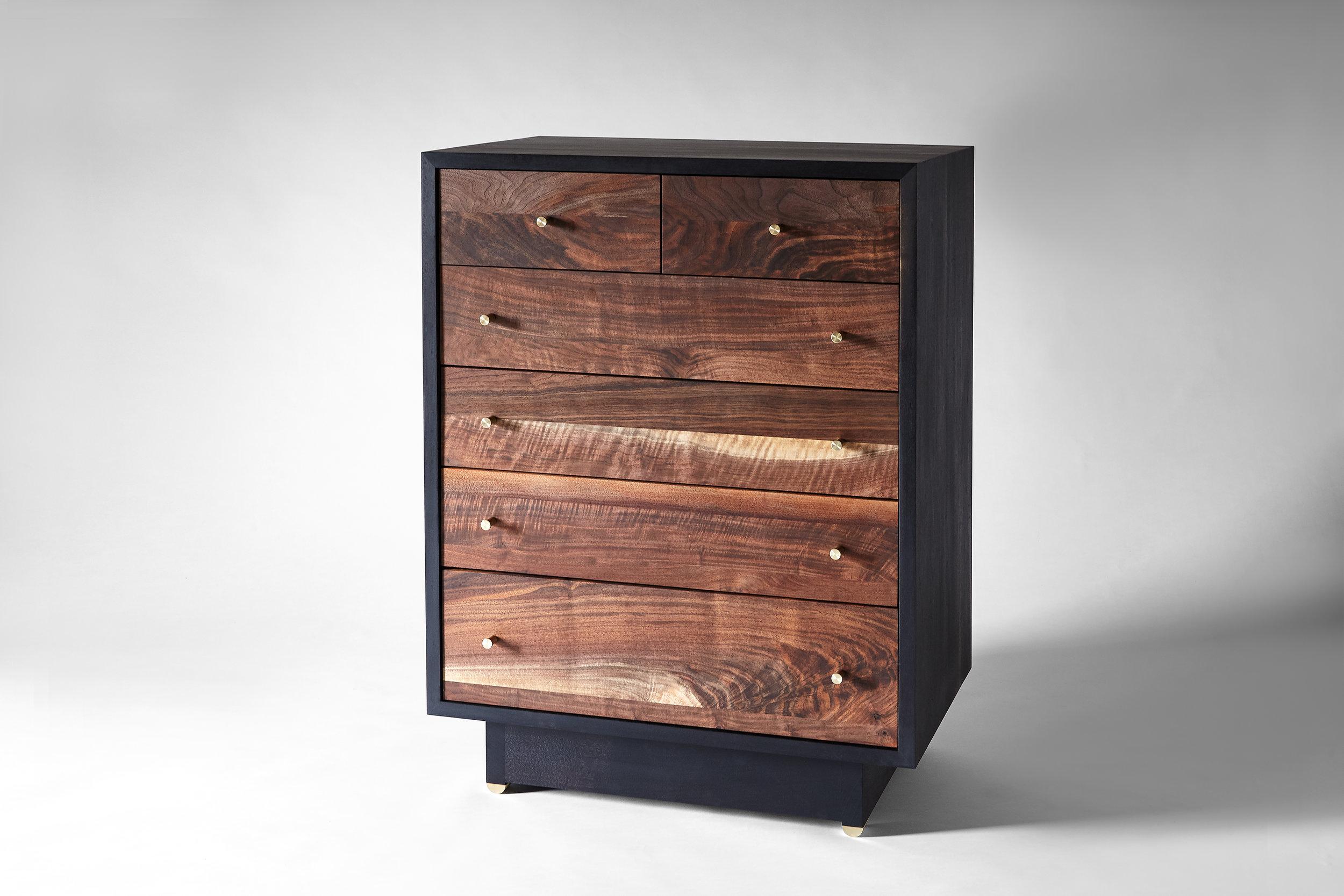 Ebonized Walnut case & base, Claro Walnut front Natural brass hardware