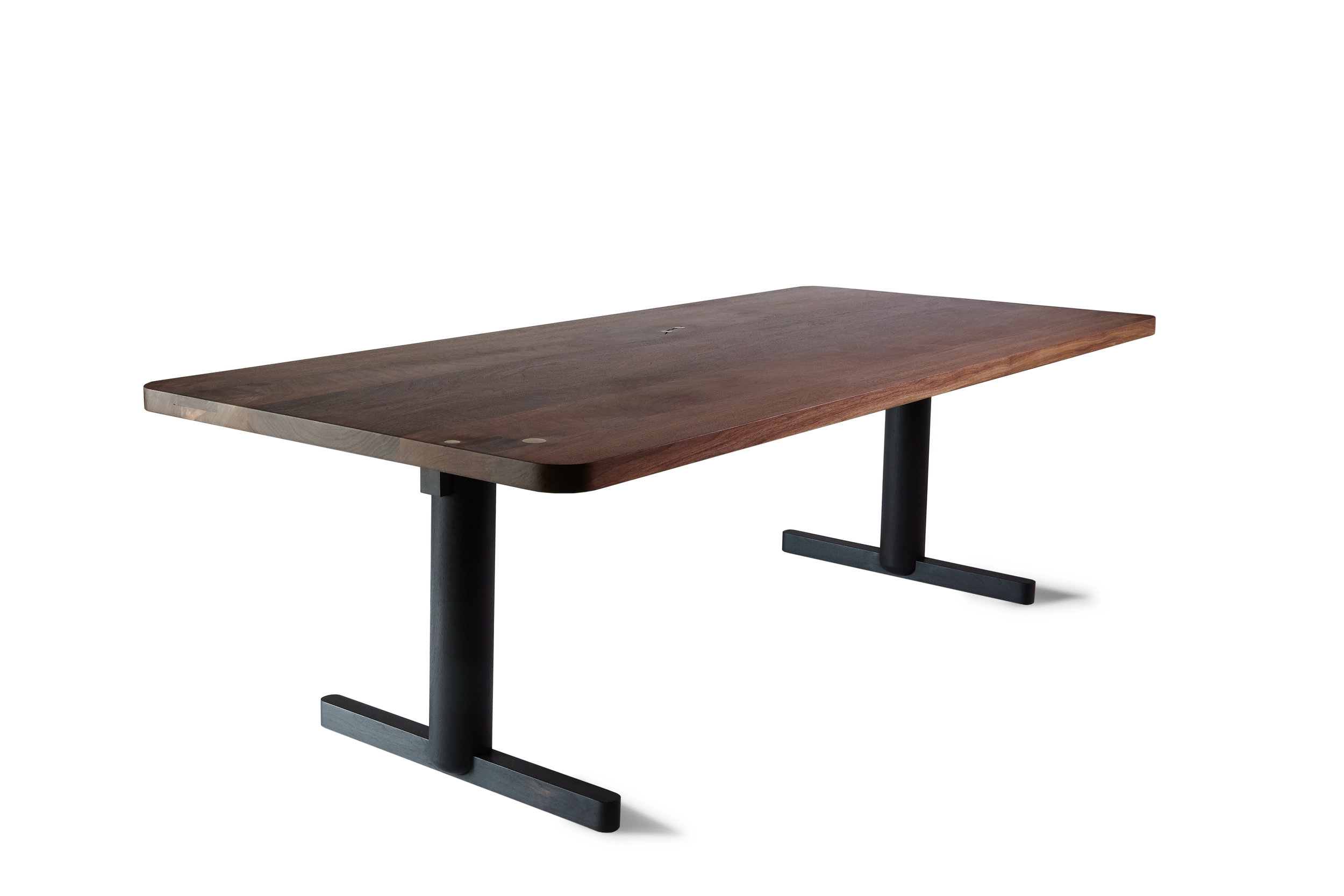 "96""L x 40""W x 29""H Claro Walnut top; Ebonized walnut base"