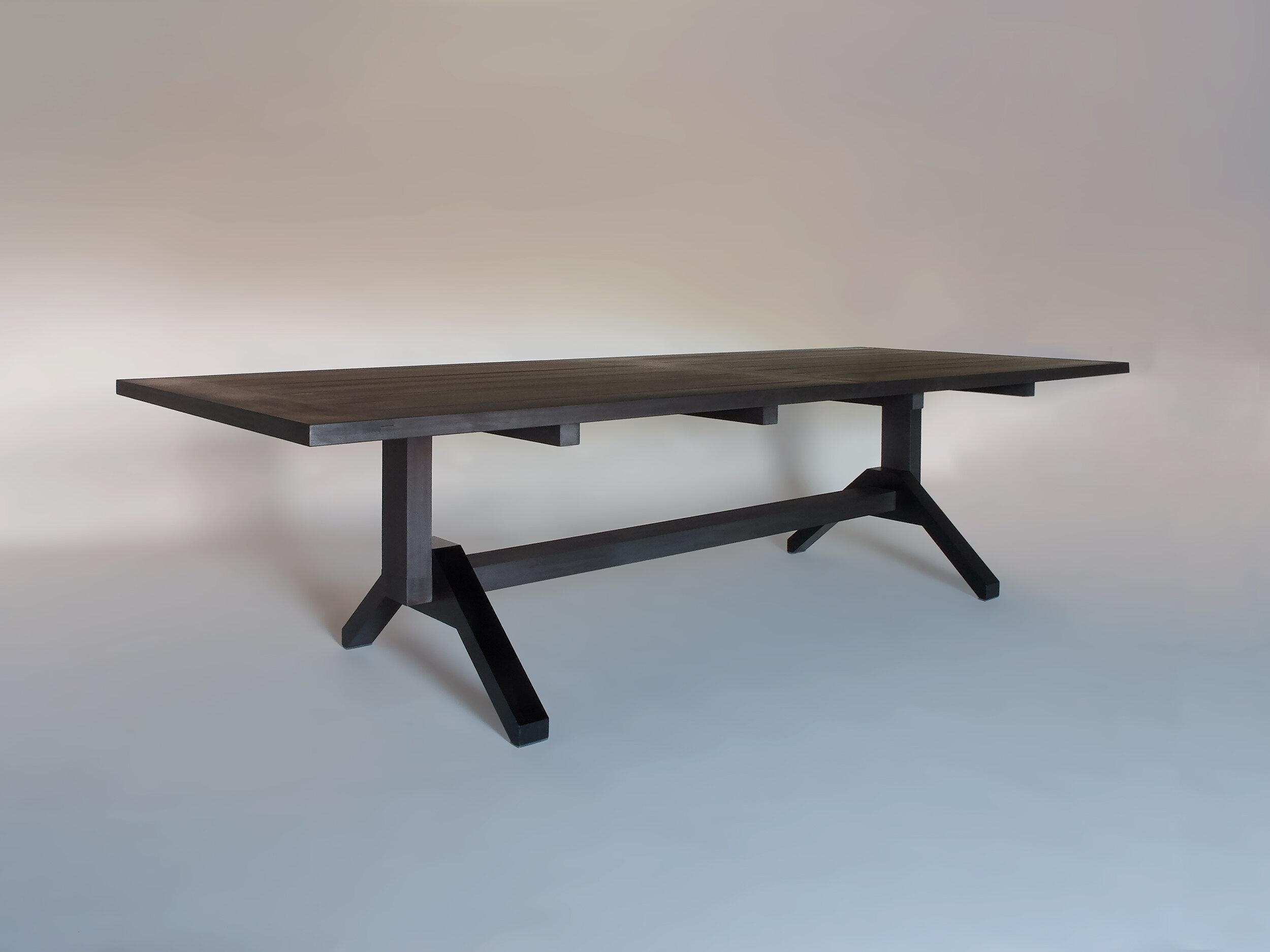 "Sapele, oxidized & charcoal oil finish Black urethane coated steel 108""L x 42""W x 29""H"
