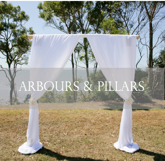 Wedding ceremony arbour/arch and pillars