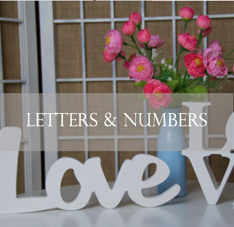 Table numbers and wooden letters