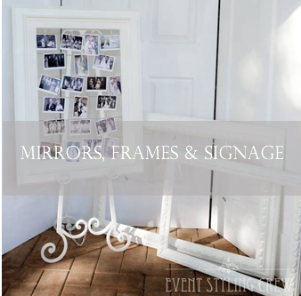 table mirrors, easel, frames and signs