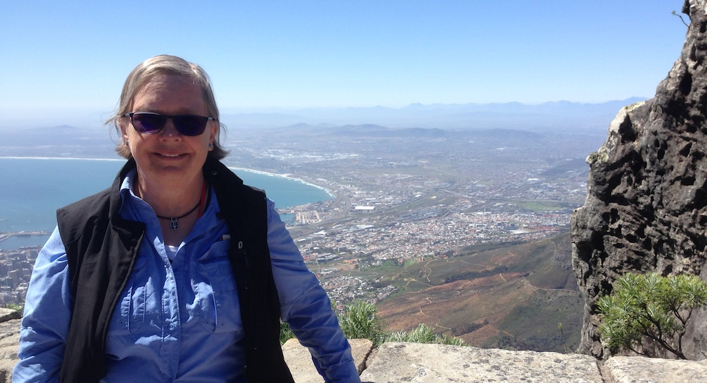Carolyn at the top of Table Mountain, Capetown, South Africa
