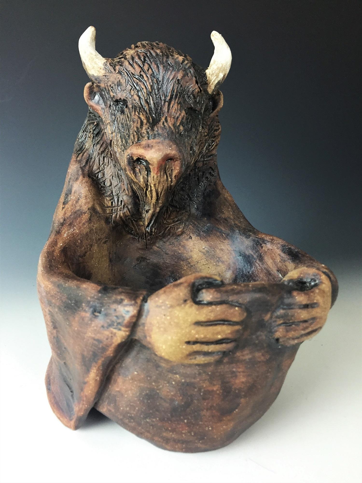 Bison Abundance Juju Bowl   - Dulcie Belanger  Clay Sculpture