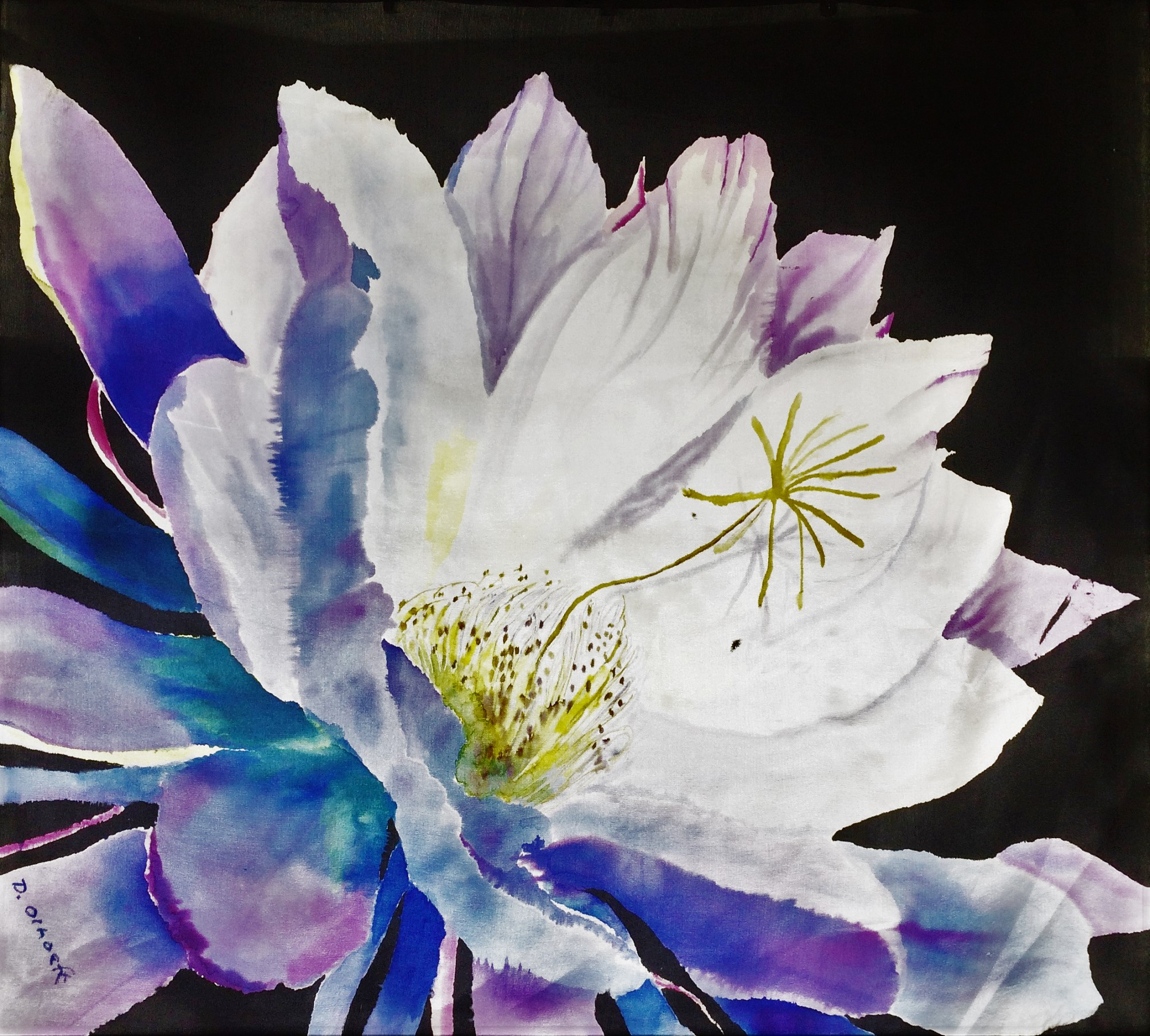 The One Night Stand of the Night Blooming Cereus -  Diane Olhoeft  Silk Painting