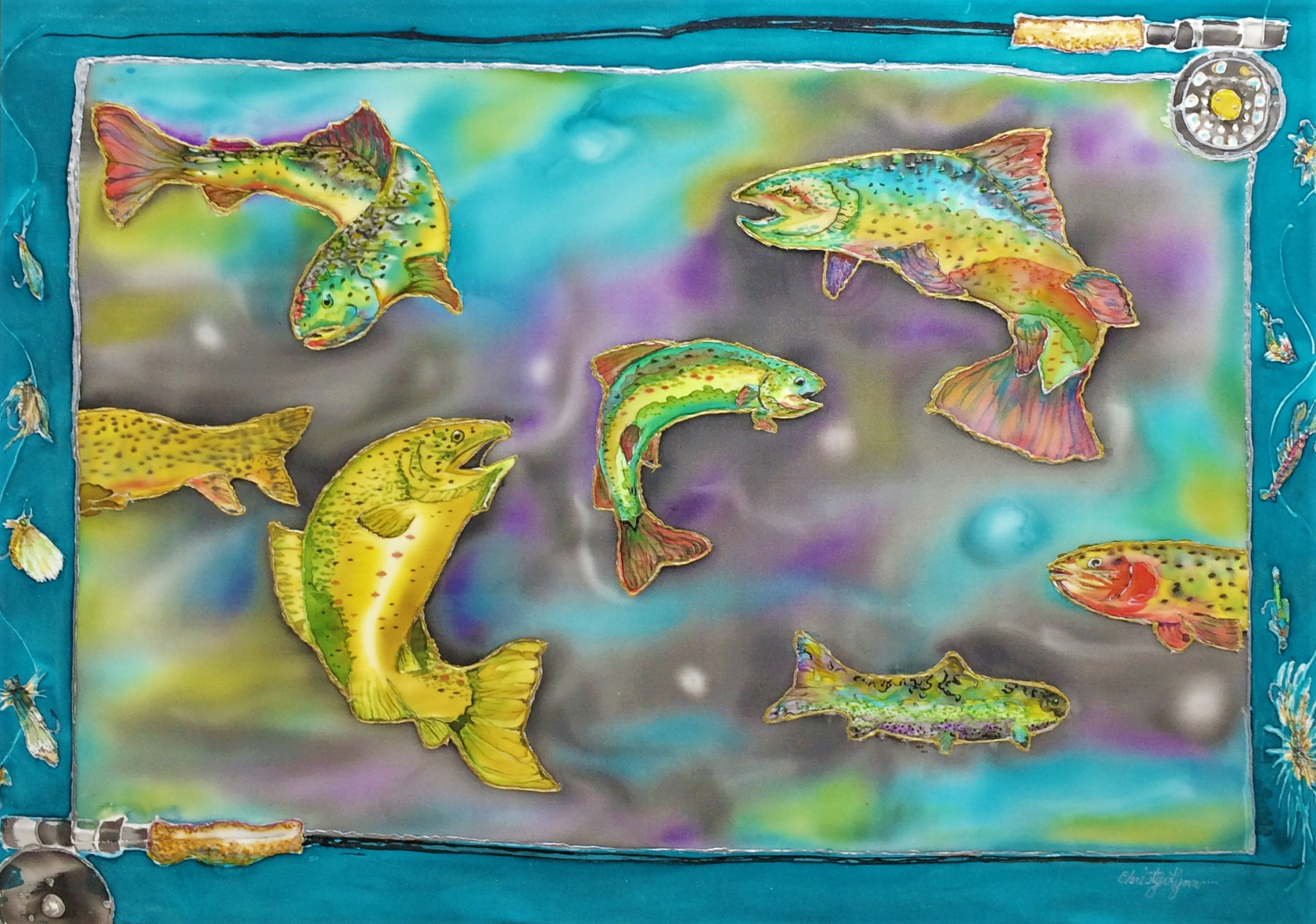 Cosmic Trout -  Christy Lynn Greene  Silk Painting