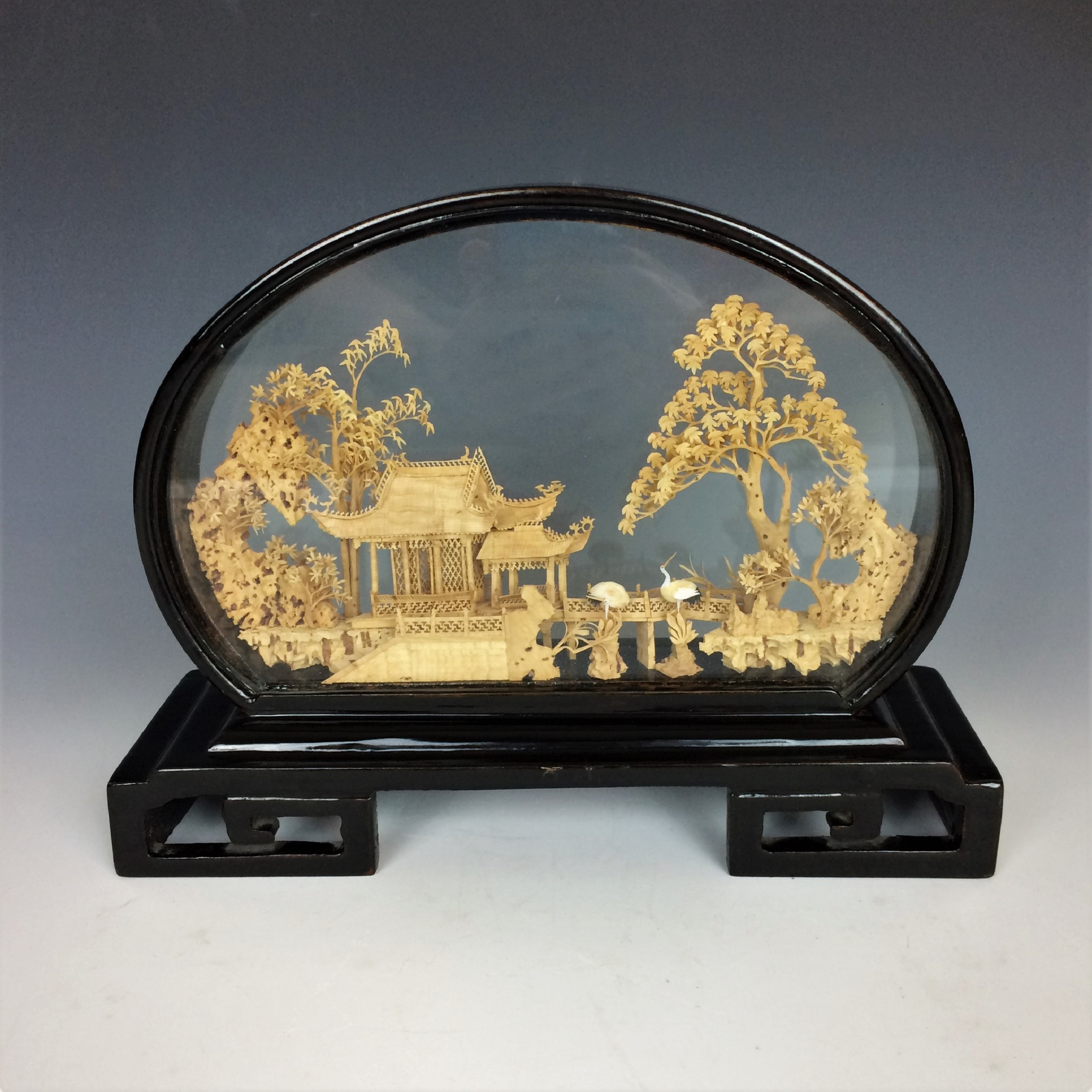 China -  Vintage Chinese Hand-Carved Cork 3D Diorama