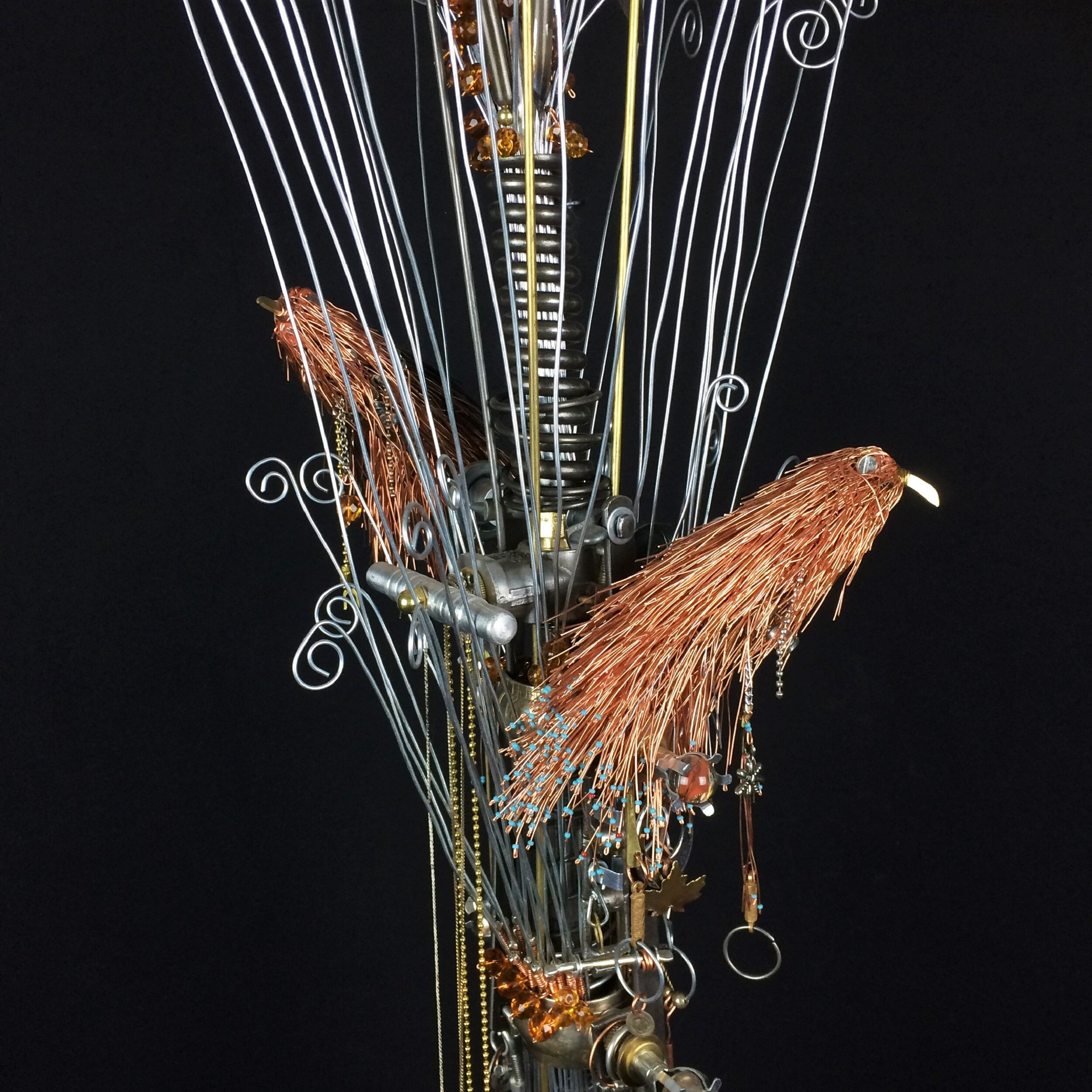 Hand made copper wire birds.