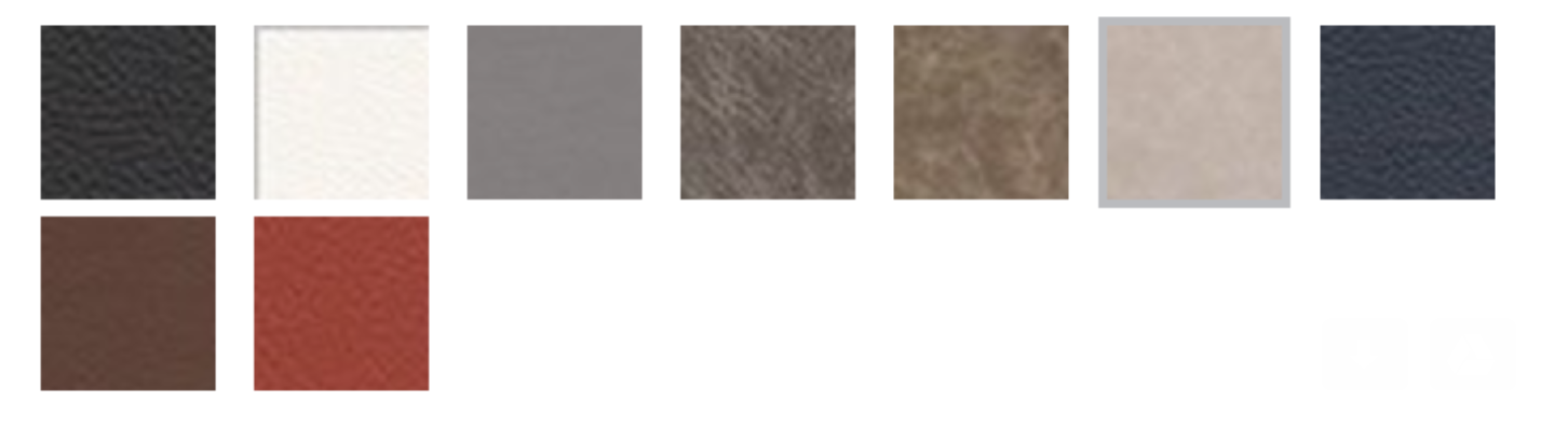 Genuine Leather (from left to right): Black, White, Sterling Gray, Distressed, Distressed Cappuccino, Distressed Sand, Midnight Blue, Mocha, Cardinal Red