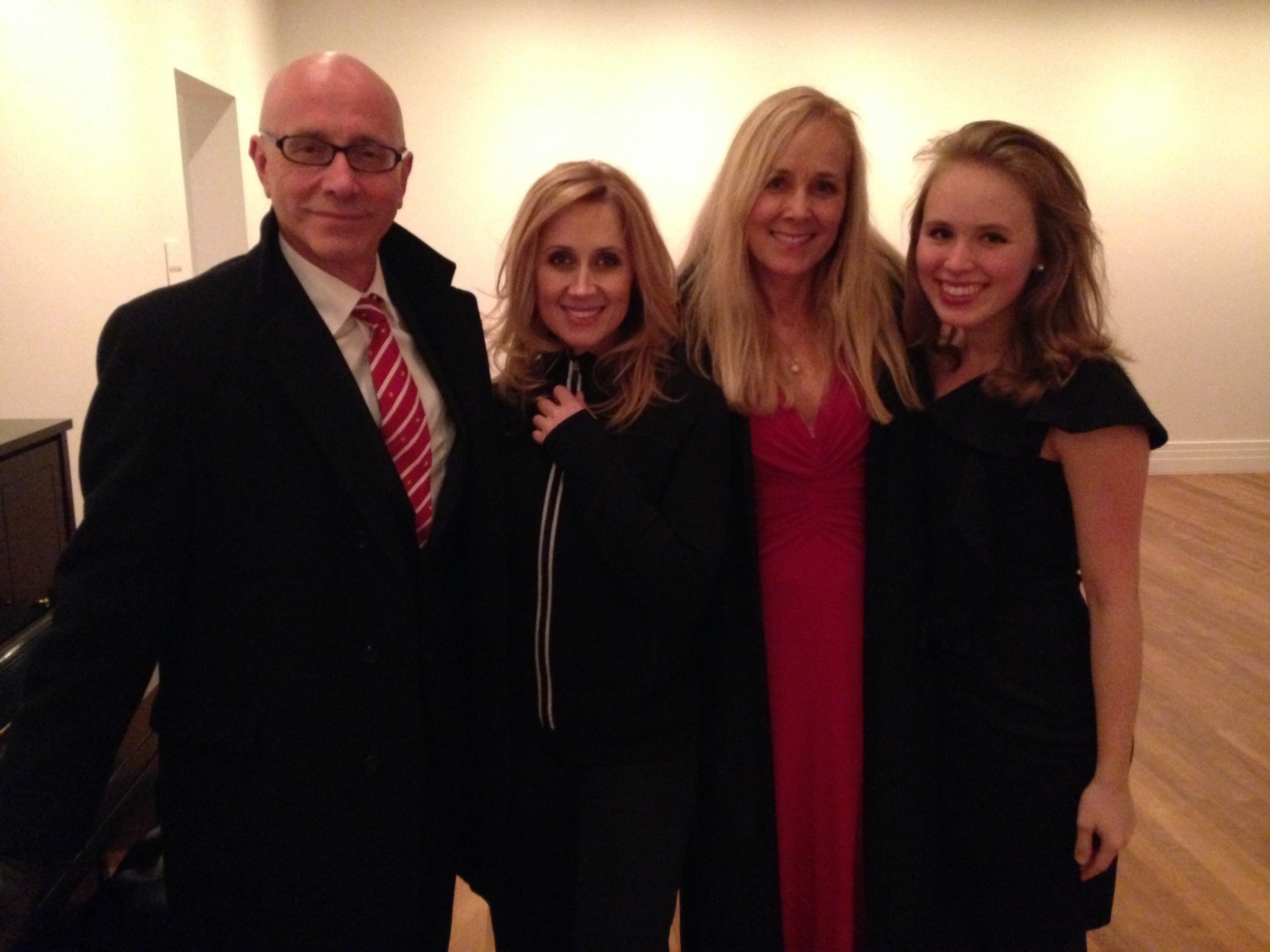 """Bruce, Lara Fabian, Janey, and daughter  Sam  after a sold out performance of """"Le Secret"""" at Carnegie Hall in NYC 2013"""
