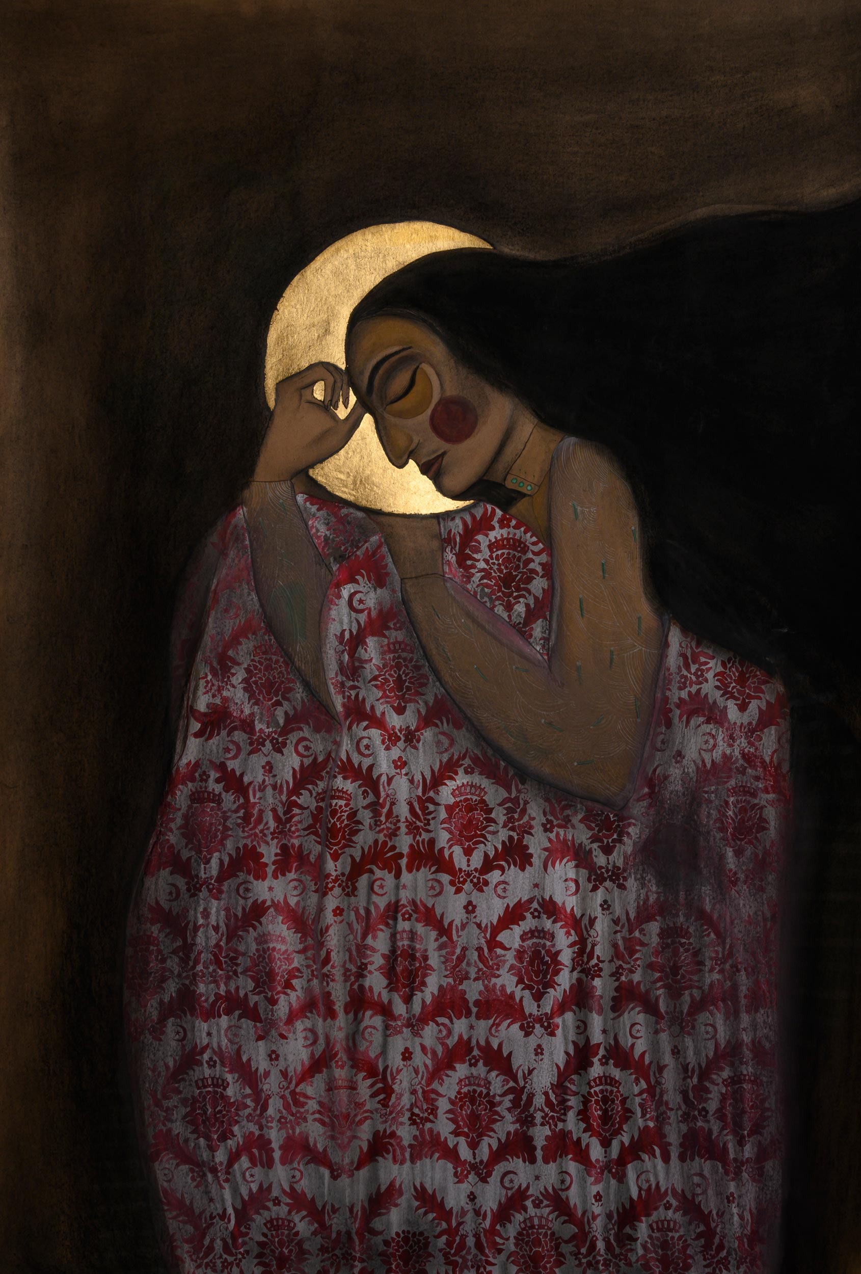 """Layla falls asleep , 2019 Gouache, charcoal and gold on paper 63 x 27.5"""""""