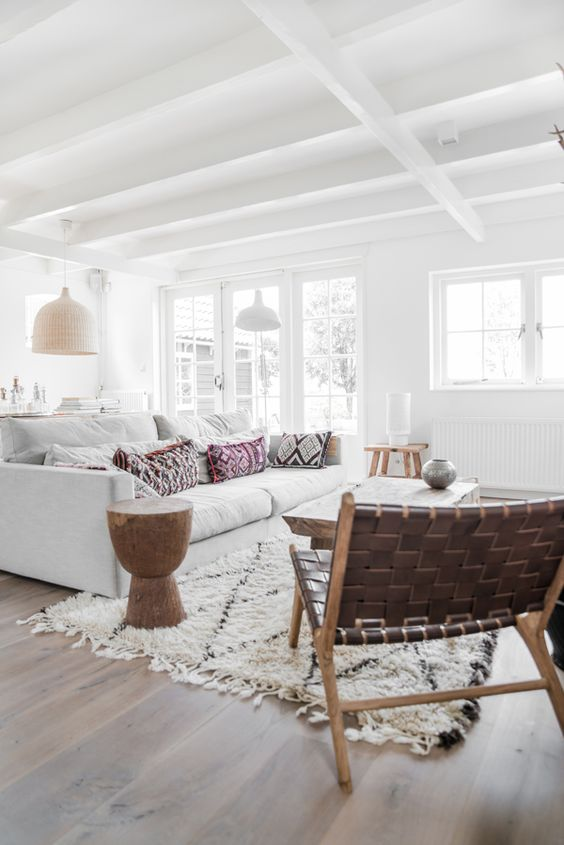 Jules and Louis Blog | wood beam interior - white beams living room