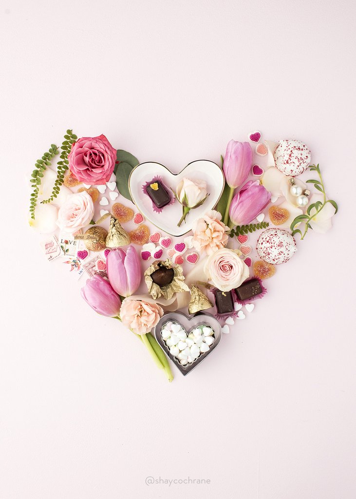 Jules and Louis Blog | floral heart in pink and chocolates