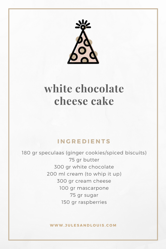 Jules and Louis Blog - White Chocolate Cheesecake - recipe