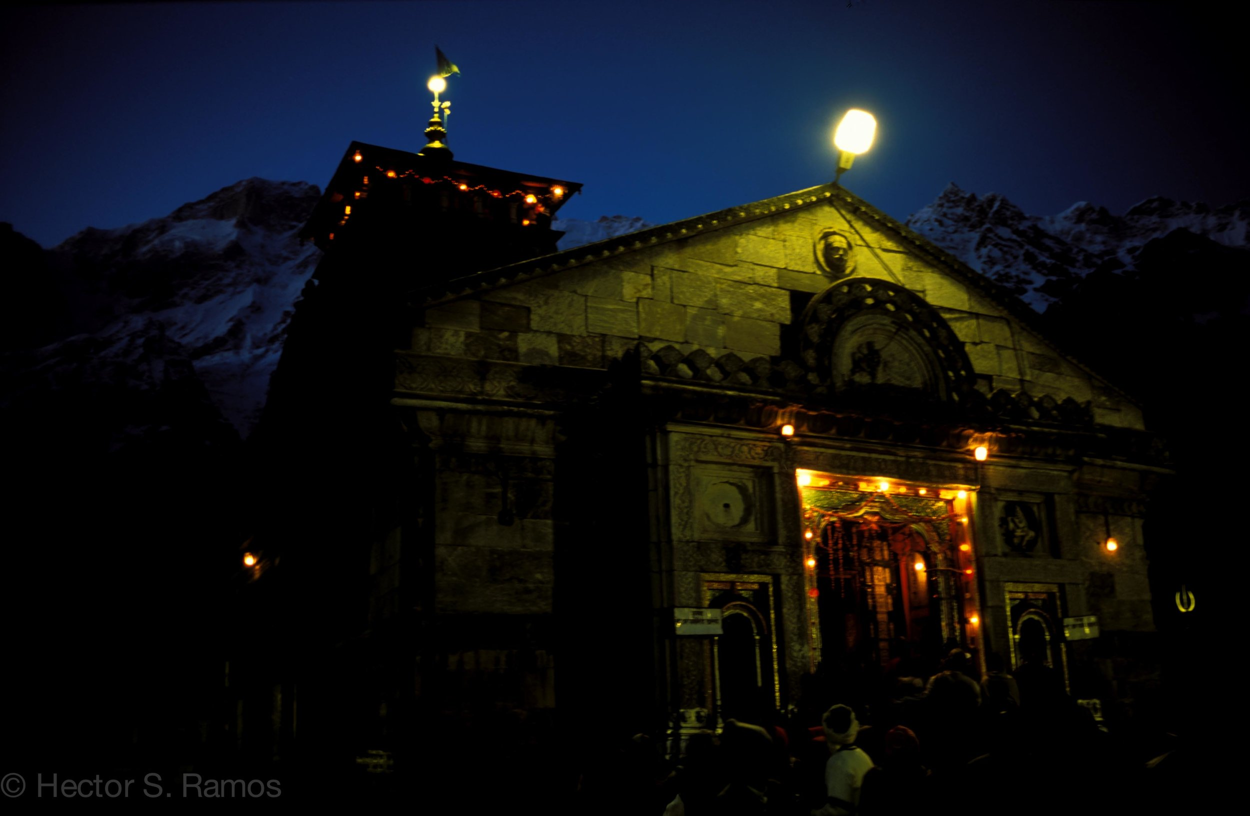 Kedarnath Temple evening worship.  Photo: Leica MP, 35mm Summilux, Velvia 50.