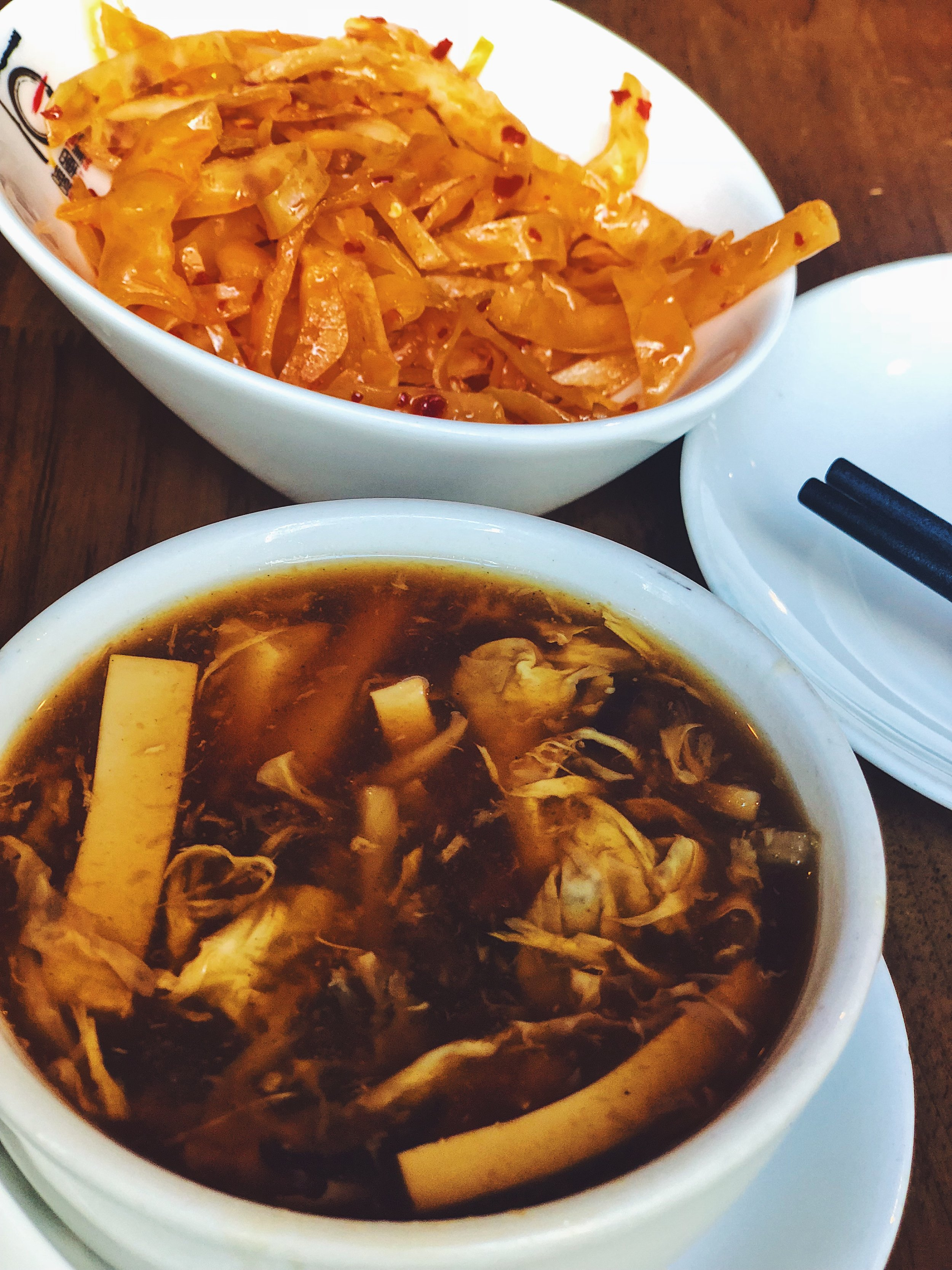 Spicy Cabbage & Traditional Hot and Sour Soup