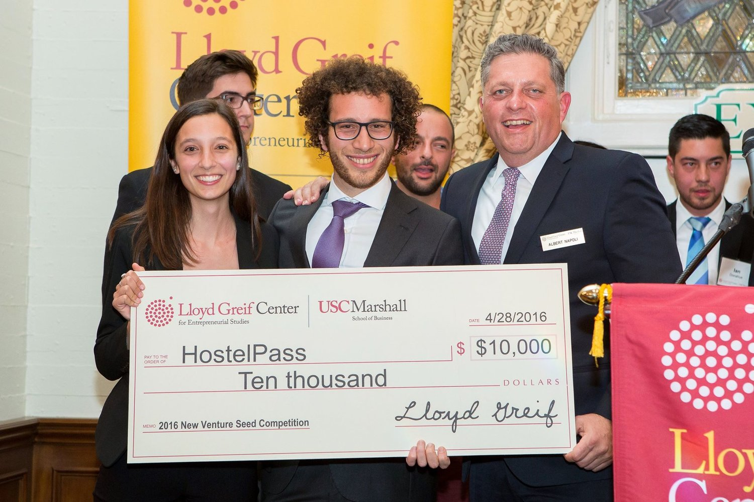 Meir and me winning $10,000 in USC's New Venture Seed Competition for HostelPass. April 2016.