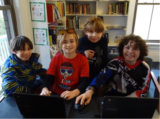 Koji, Telly, Cameron, and Jack like to play computer games during their lunch break.
