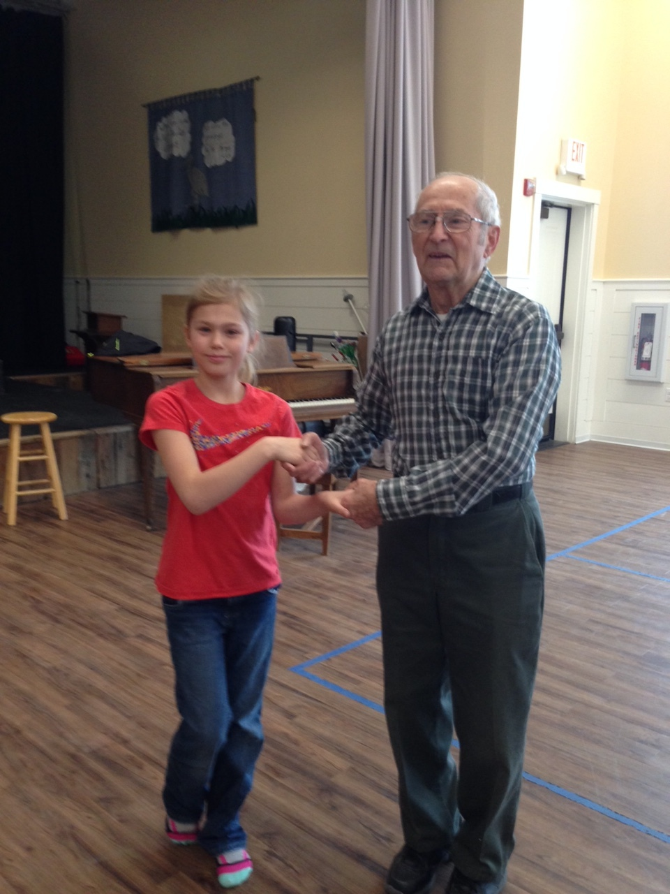 Lacey Patoine and Dale Deblois dance together in class.