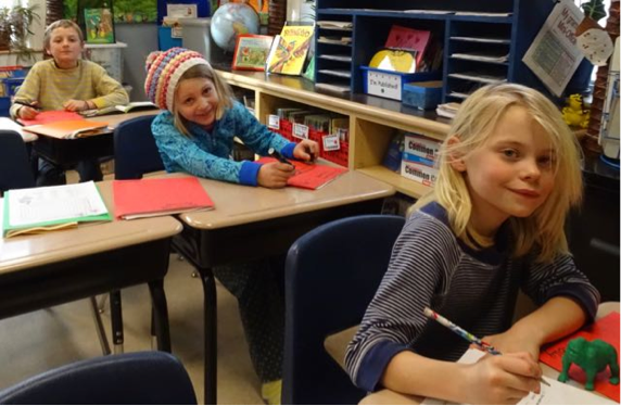 Lyric, Izzi, and Molly were hard at work in their rainforest classroom last week.