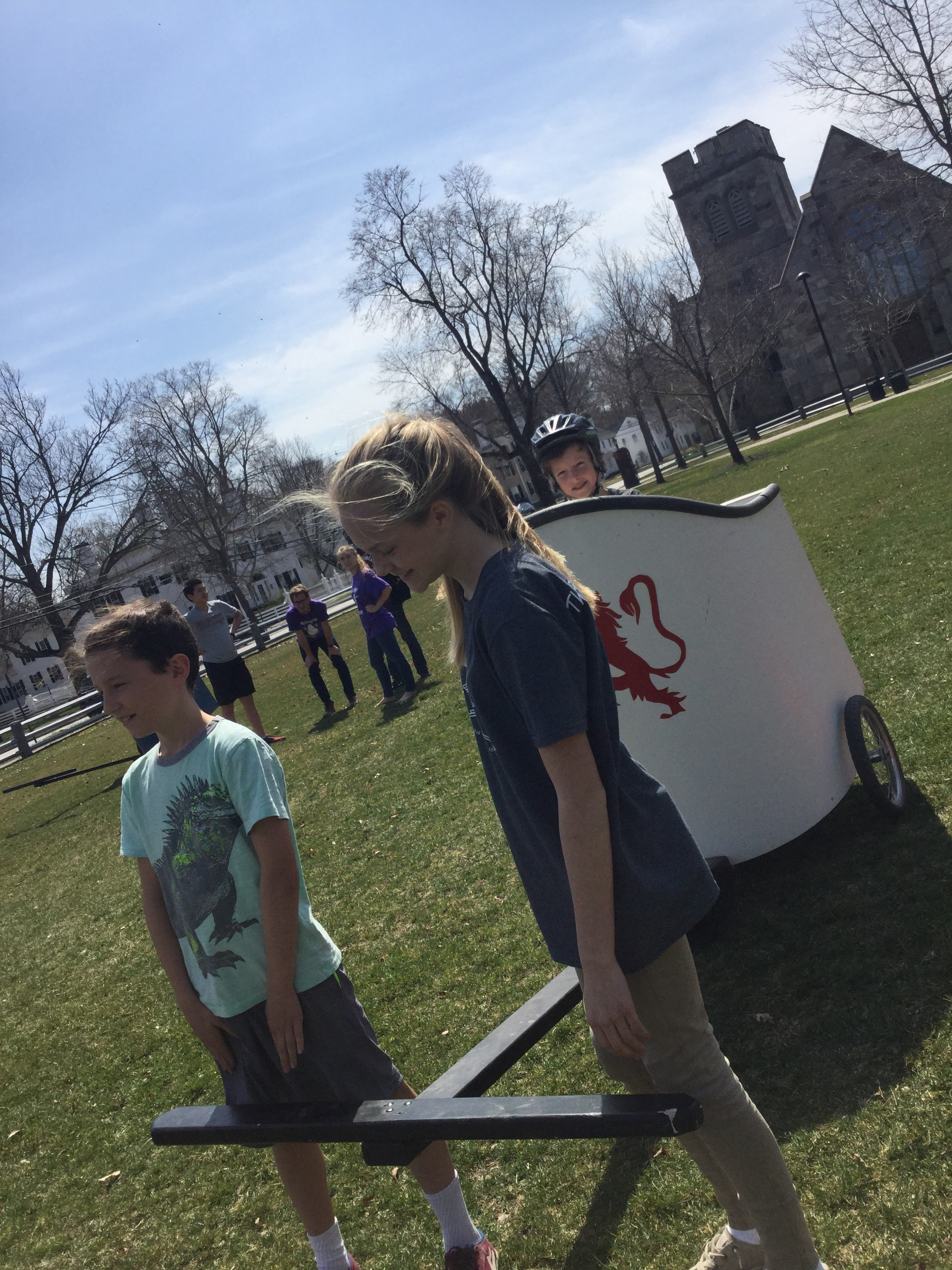 Henry Griffin from Danville and Katie Lyon from Waterford eagerly waiting to pull Liam Markey from Peacham in the chariot competition. Of which they went on to win their leg and compete in the finals.