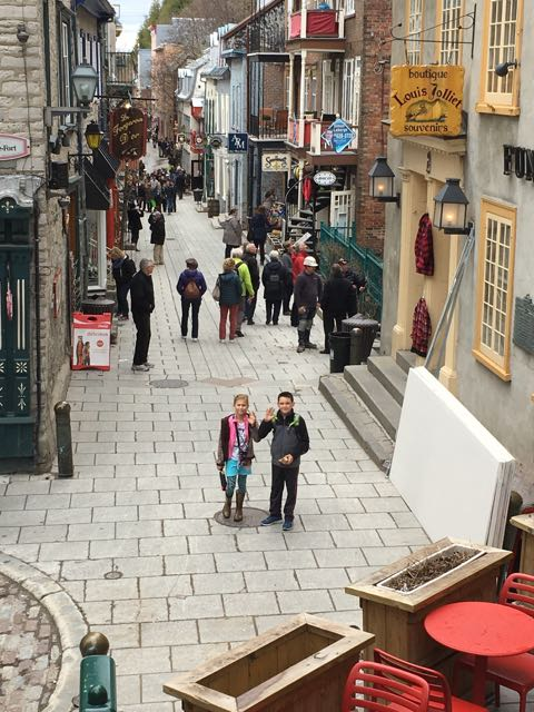 Lacey and Ethan enjoyed exploring the narrow old streets in Quebec City.